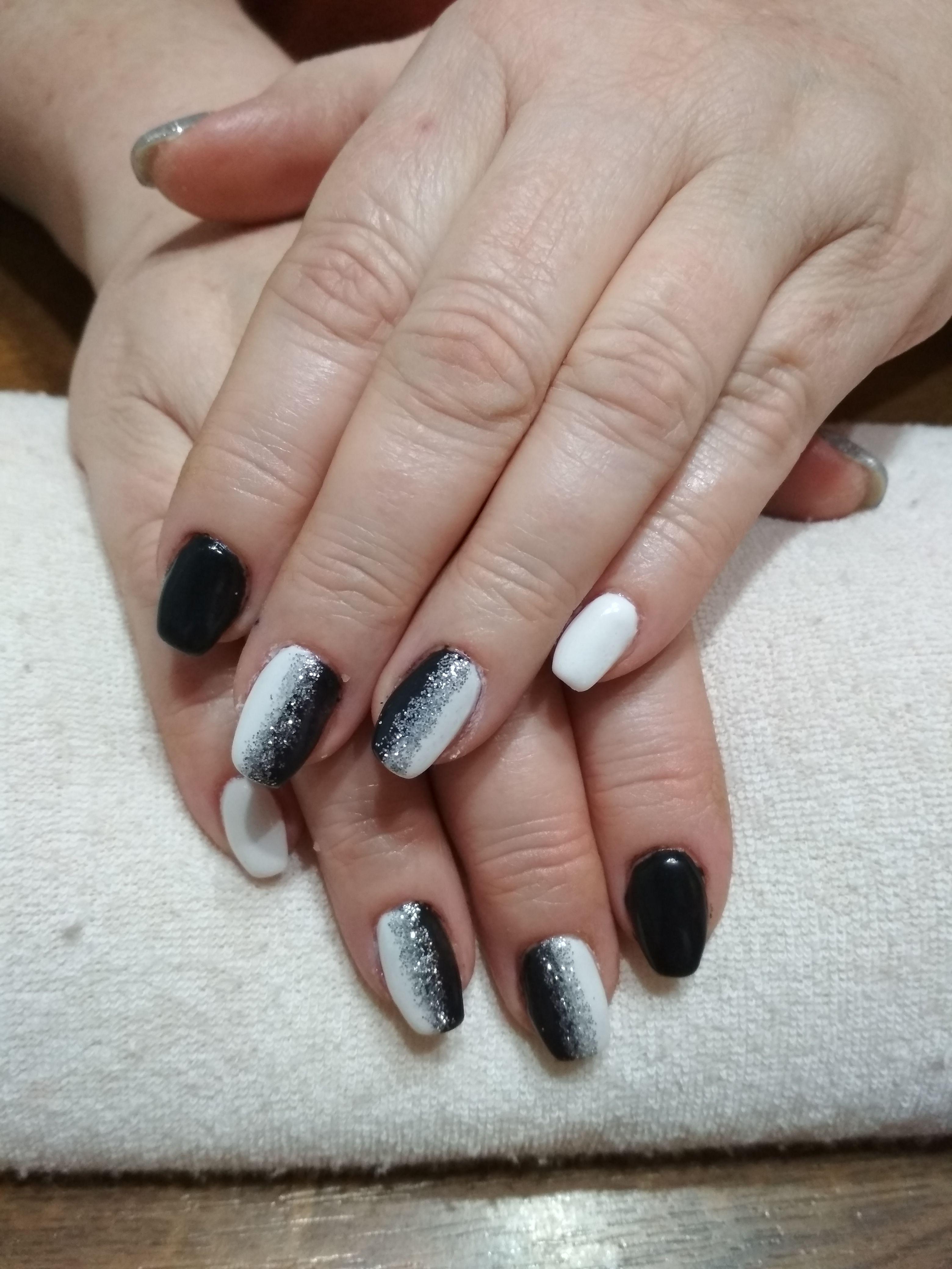 Black And White Nails Black Gel White Gel Silver Glitter Nails White Nails Silver Glitter