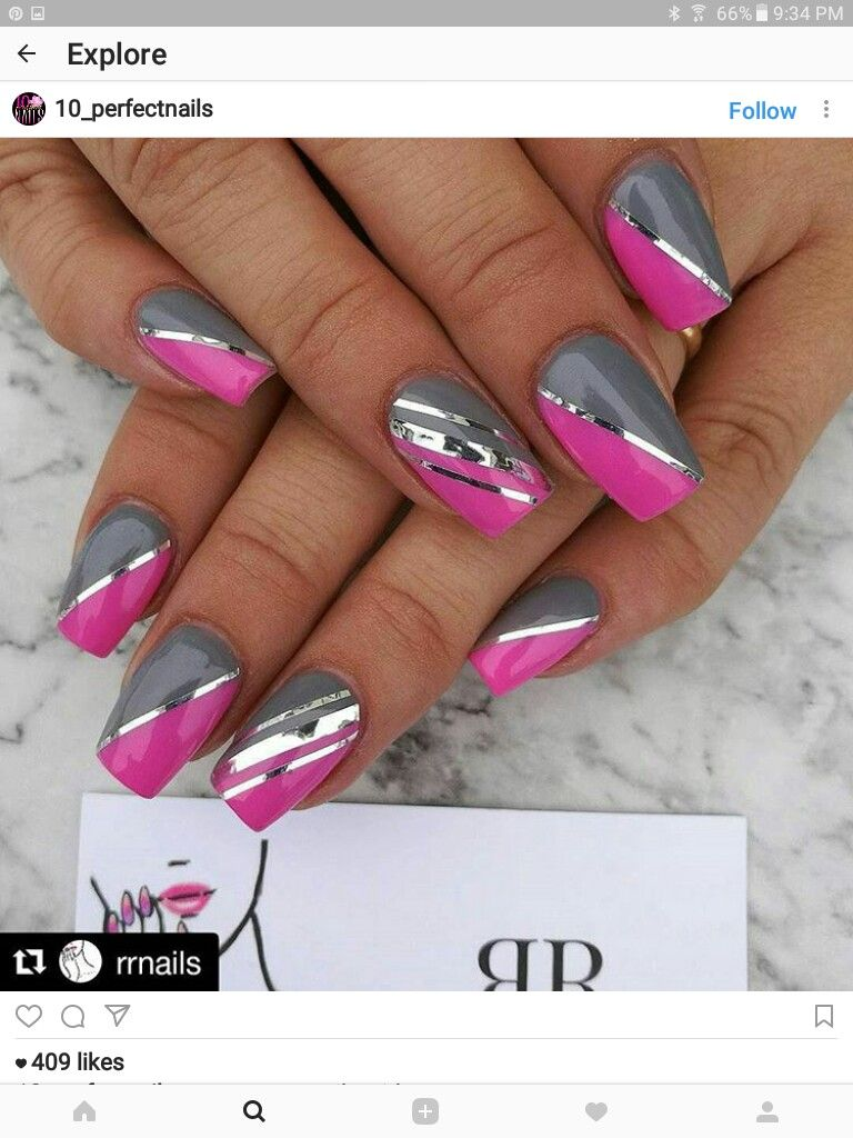 Pin By Anicka Liskova On Nails 2 Pink Nails Pink Nail Designs Pink Grey Nails