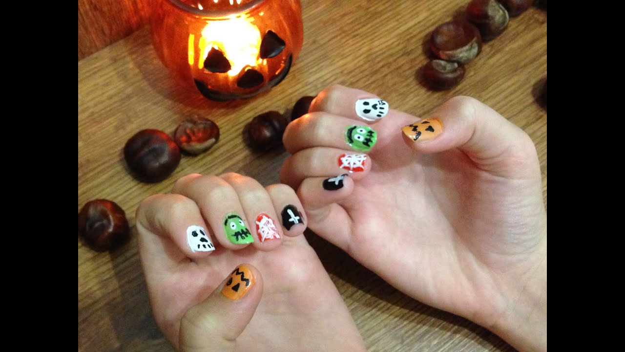 Tutorial Halloweenske Nehty Youtube