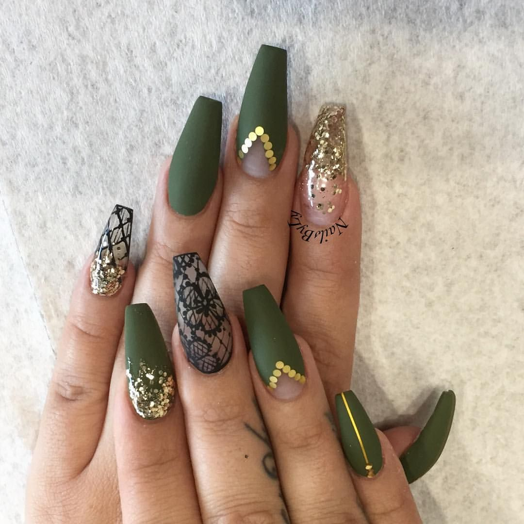 Green Khaki Gold Gems Coffin Nails With Images Nehty