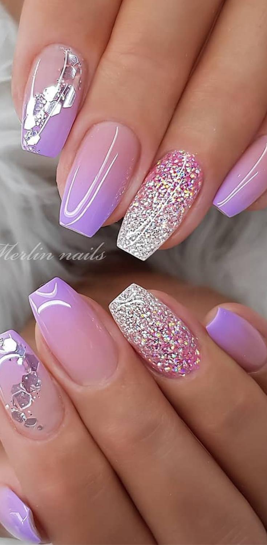 20 Pretty Nails Design And Ideas For 2019 Pretty Nails Glitter Nail Designs Glitter Nail Art Wedding