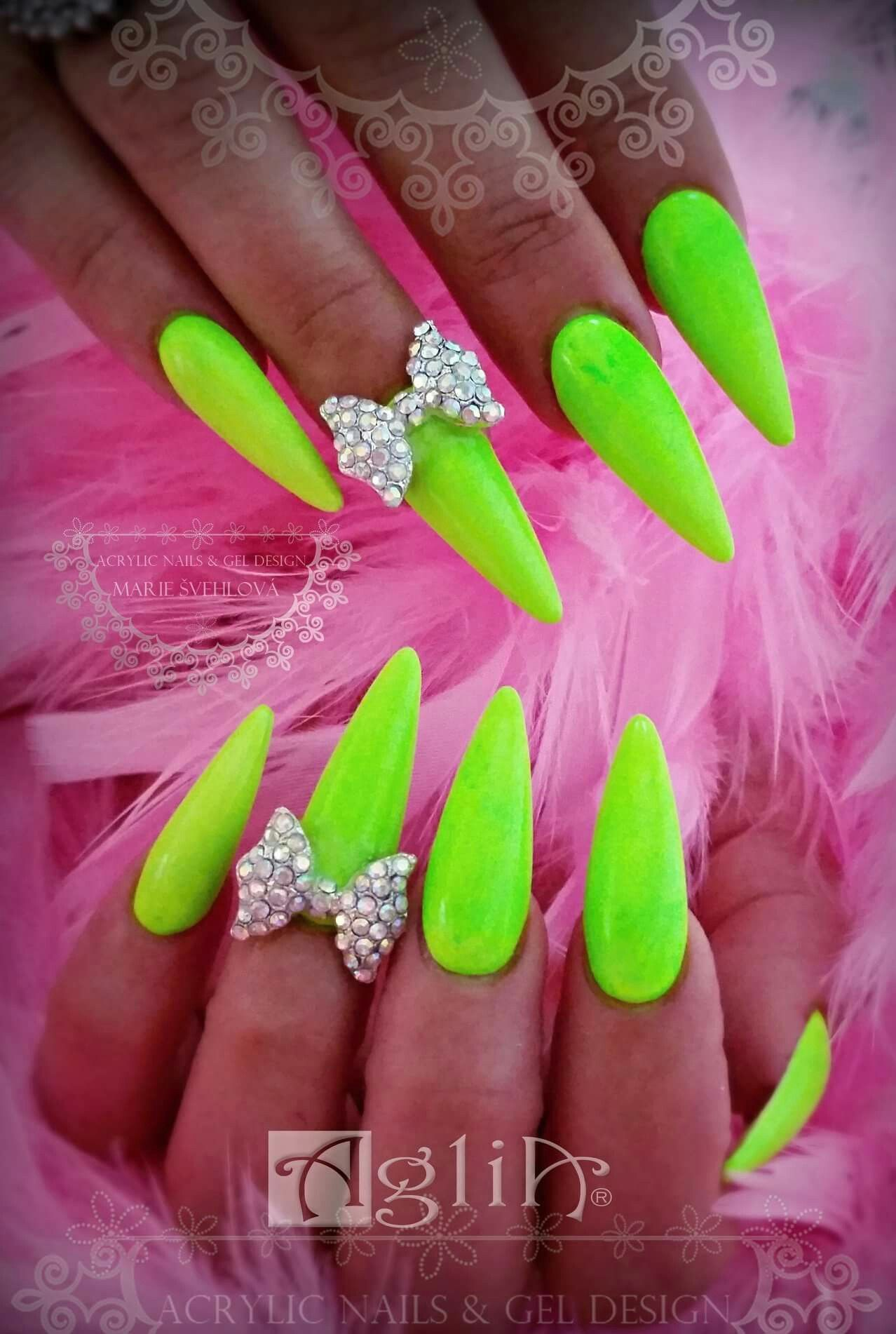 Acrylic Nails Gel Design Neon Lime Nails Long Nails Summer Nails Nails Lime Nails Black Nail Designs