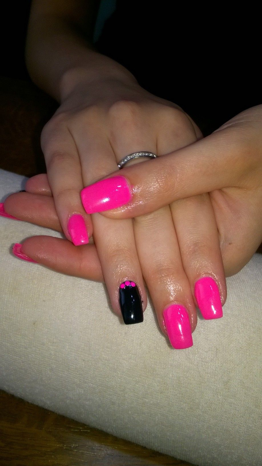 Neon Pink And Neon Glitter And Neon Pink Gel Nails Neon Pink Glitter