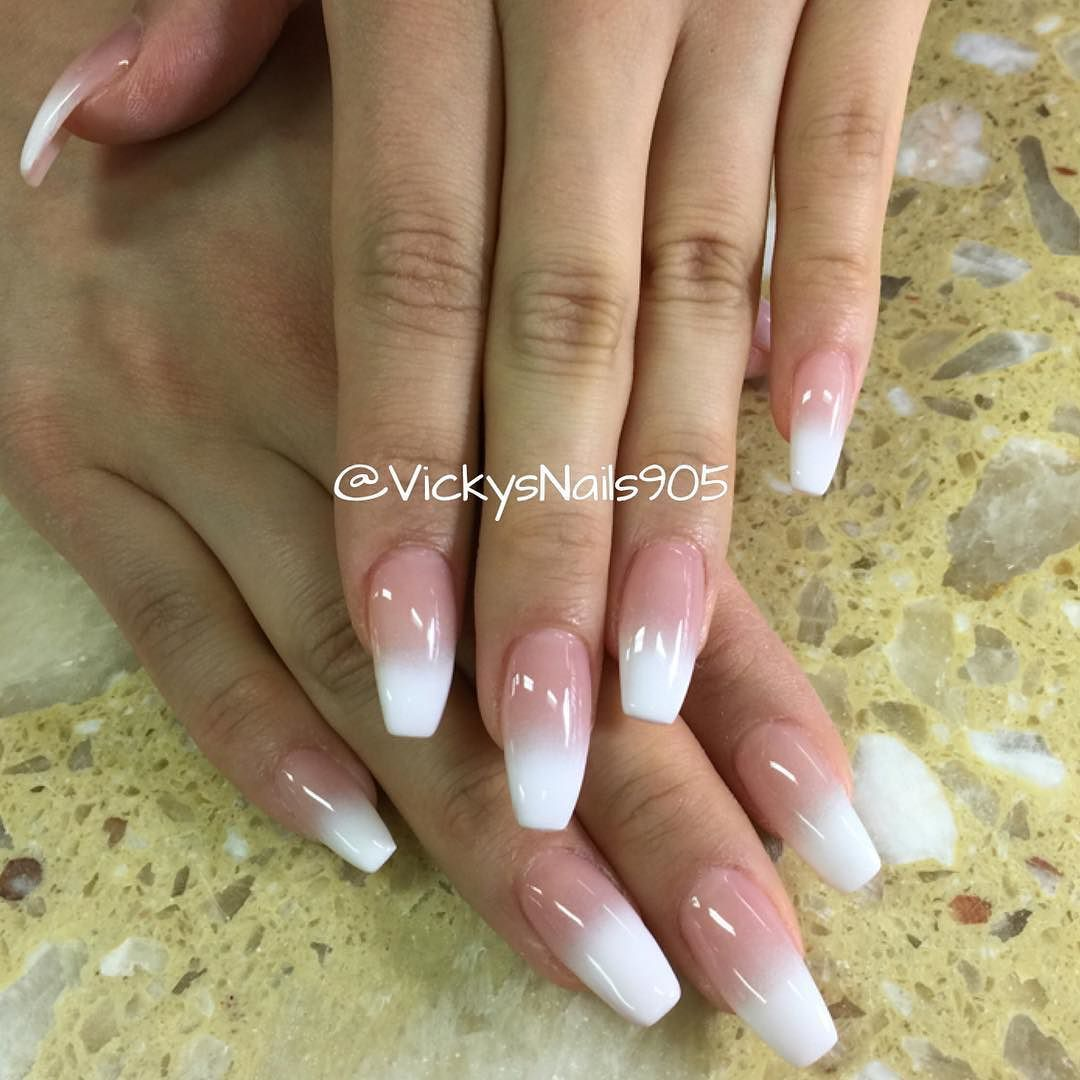 Coffin Uv Gel Nails With Ombre Manicure Nails Vickysnails Mississauganails Gel Nails French Uv Gel Nails Swag Nails