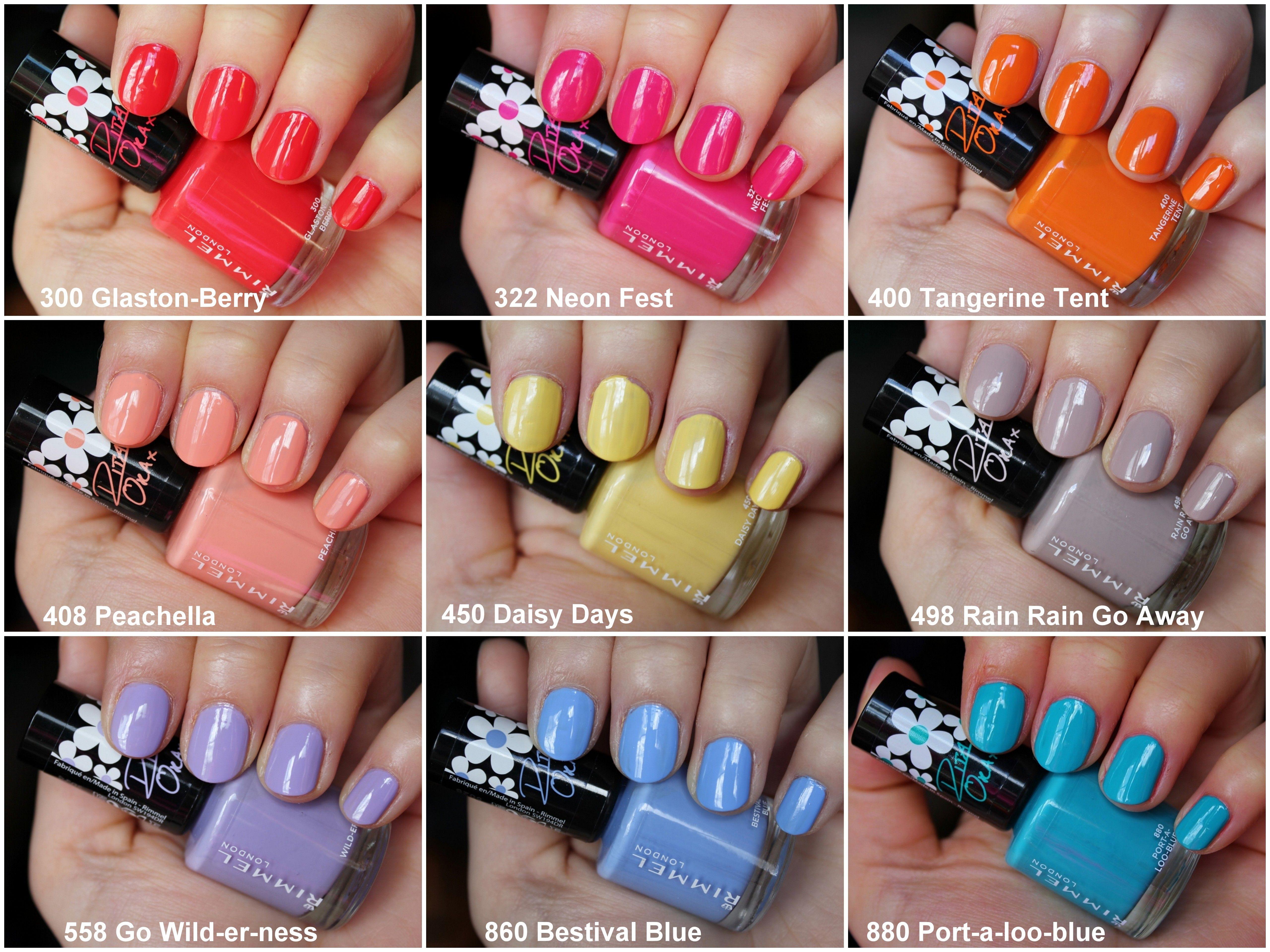 Swatches Rimmel Colourfest 60 Seconds Super Shine Nail Polish By Rita Ora Shine Nails Nail Polish Nails