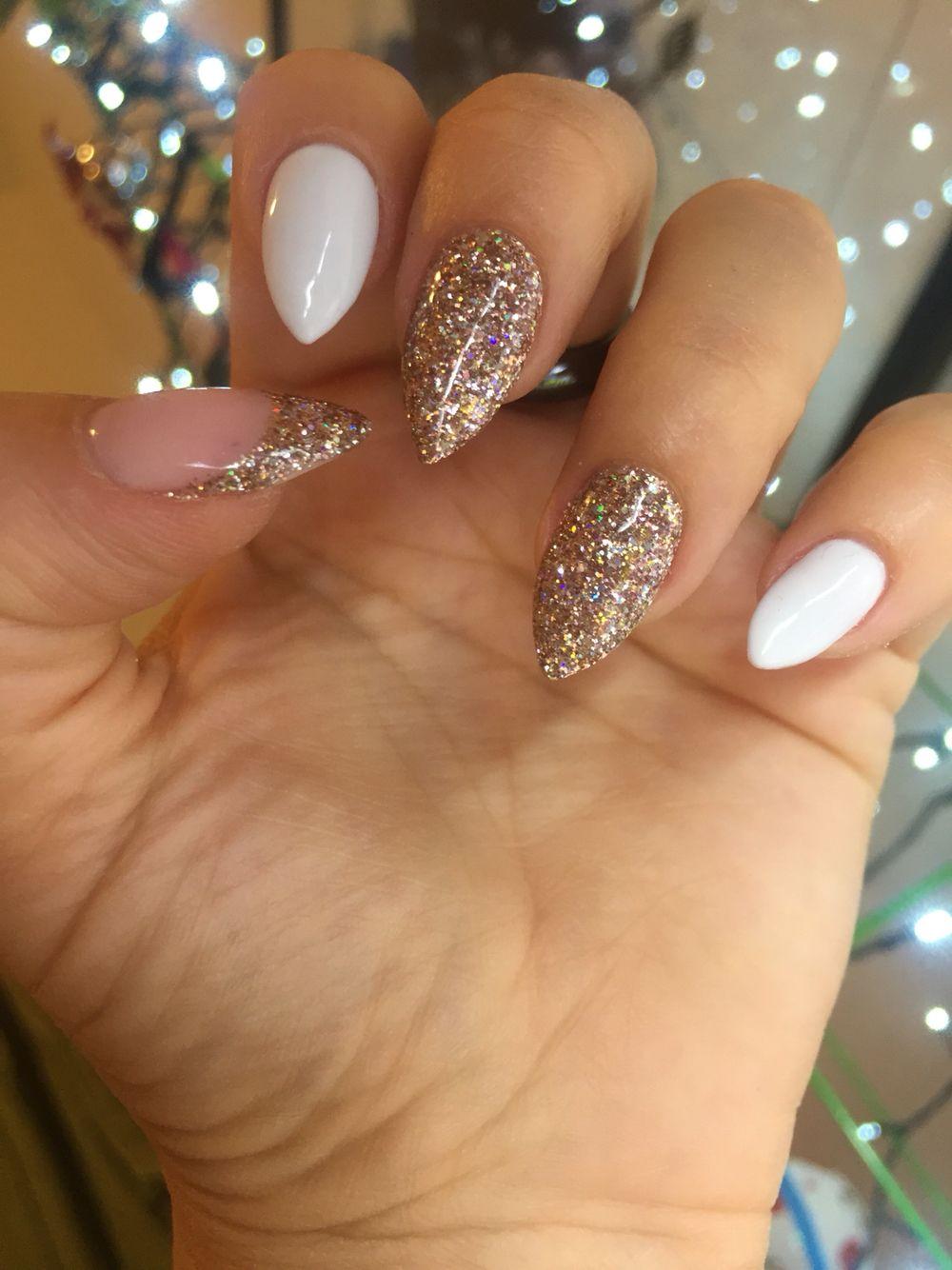 Bio Sculpture Gel Stiletto Glitter Nails Gelove Nehty Design Nehtu Nehty