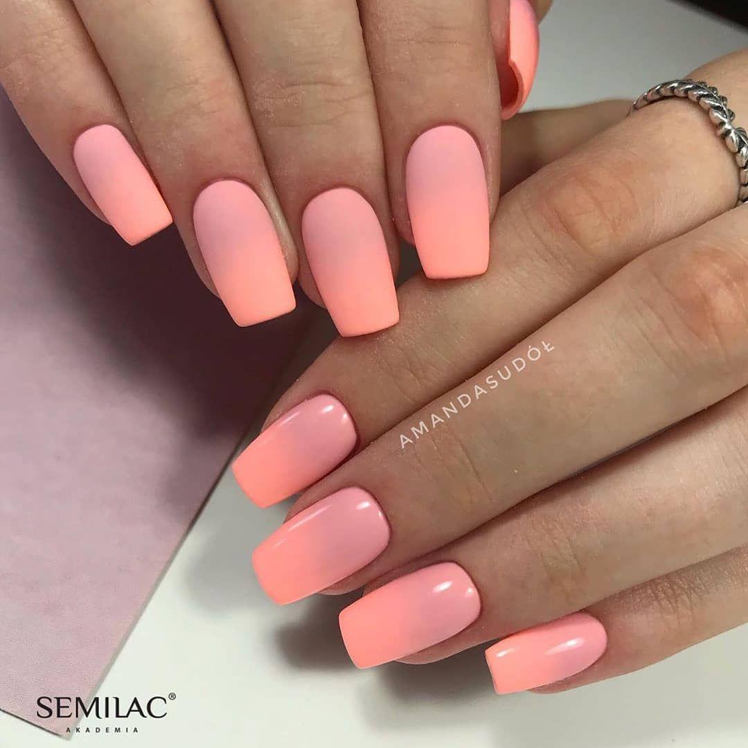 Matne Ci Leskle Co Uprednostnujete Farby 047 Pink Peach Milk 130 Sleeping Beauty Necht Ombre Nail Designs Nail Designs Summer Matte Nails Design
