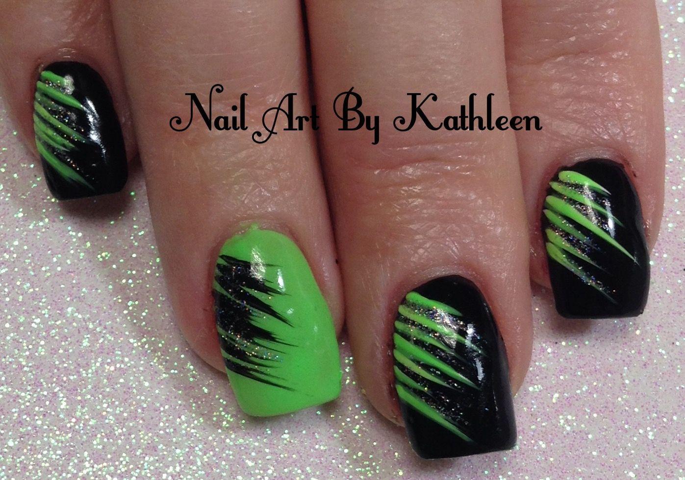 Neon Green And Black Nail Art Nails Nailart Naildesign Nailpolish Notd Nailartbykathleen Green Black N Neon Green Nails Green Nails Green Nail Designs