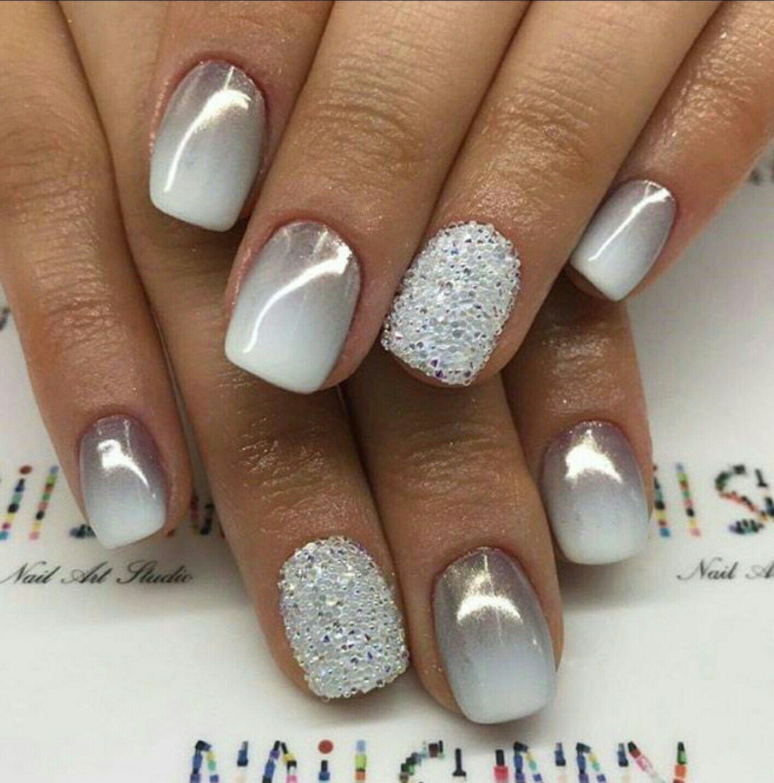 Gray To White Ombre Nails Gelove Nehty Jednoduche Nehty Design Nehtu