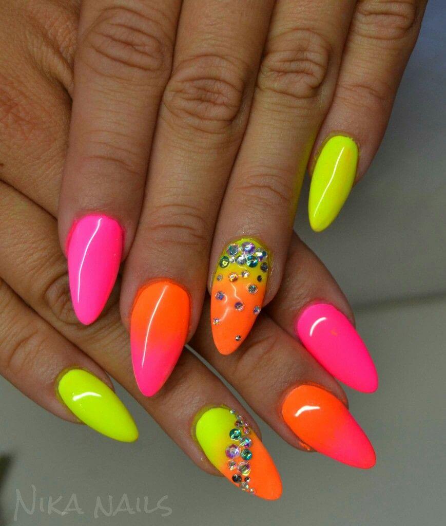 Summer Neon Neonove Nehty Gelove Nehty Design Nehtu