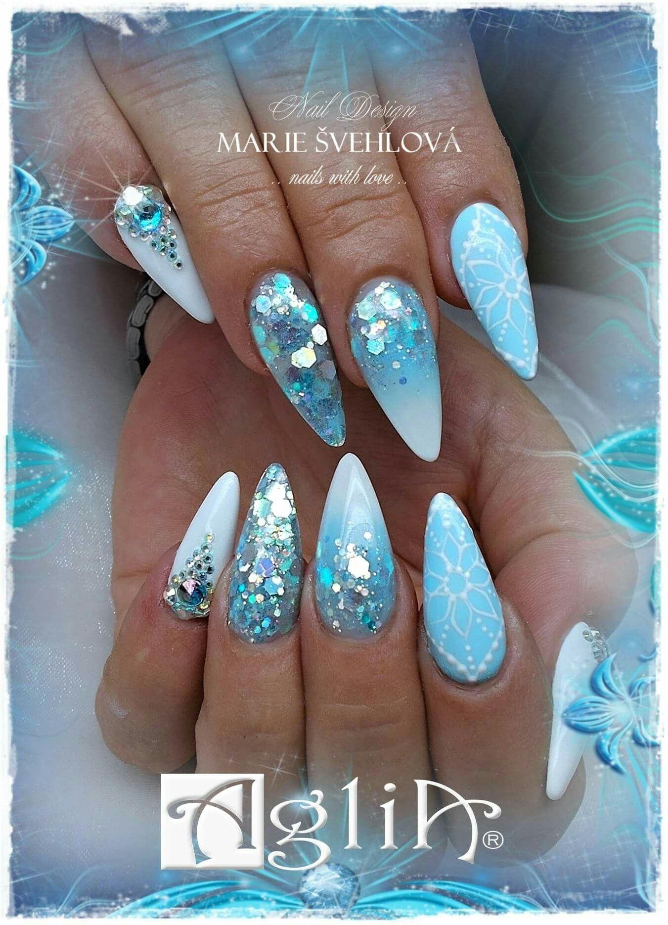 Acrylic Nails Gel Design Ice Blue Nails Design Nehtu Nehty Napady Na Nehty