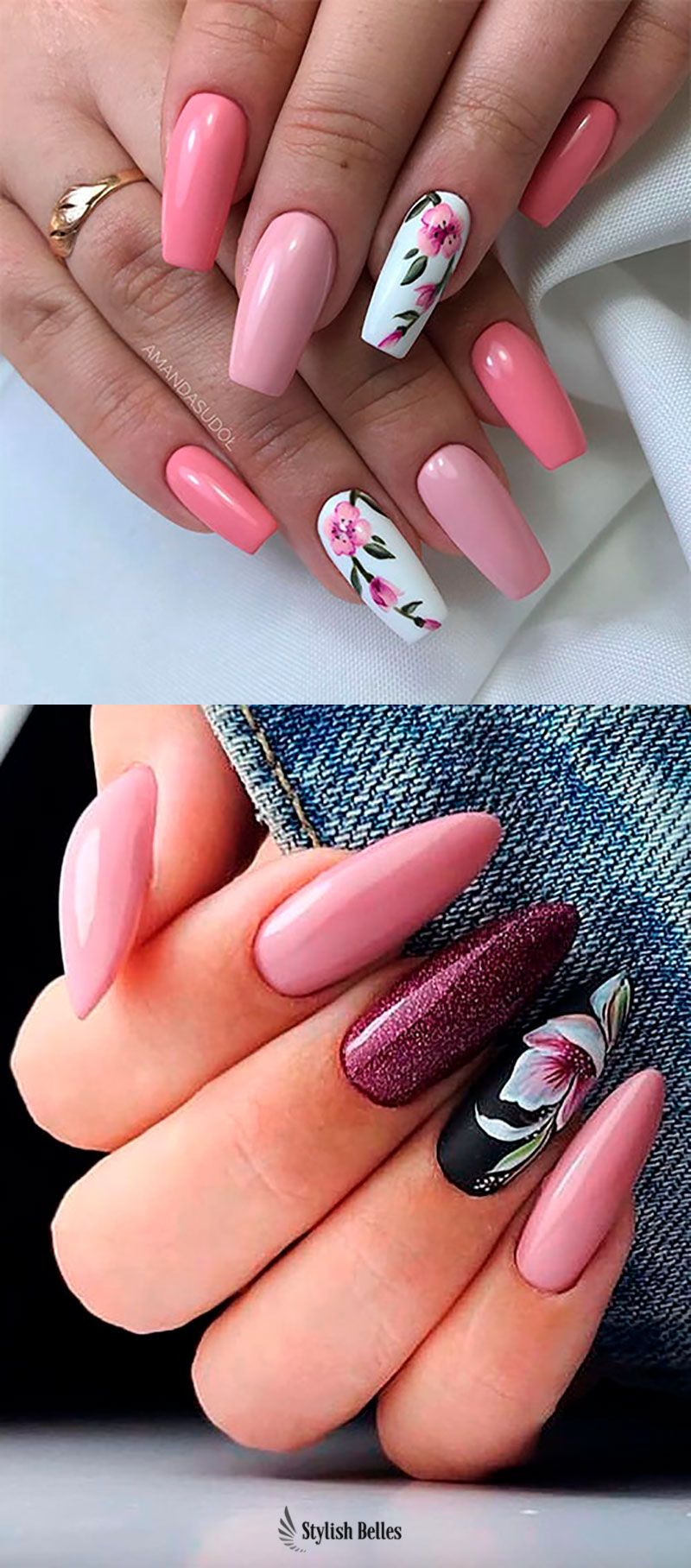 Cute Coffin And Almond Floral Nails Ideas Floral Nails Stylish Nails Flower Nails