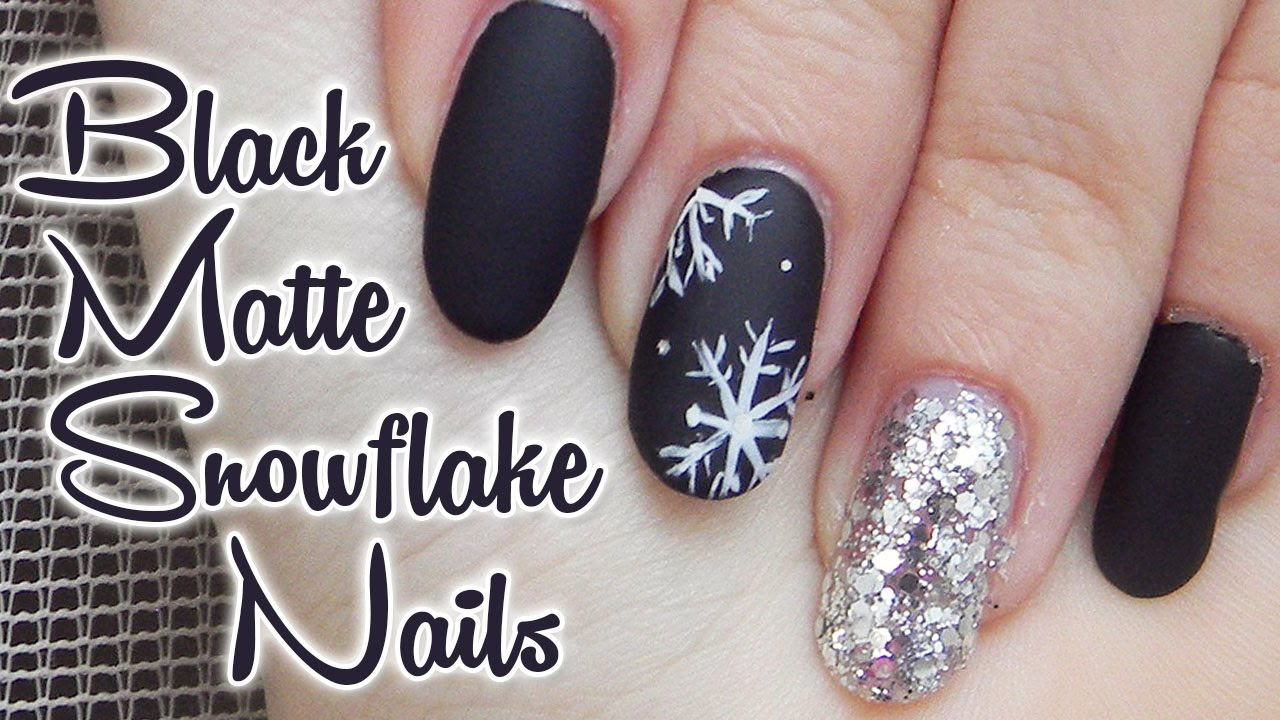Matne Cierne Nechty S Vlockami Matte Black Nails With Snowflakes Youtube