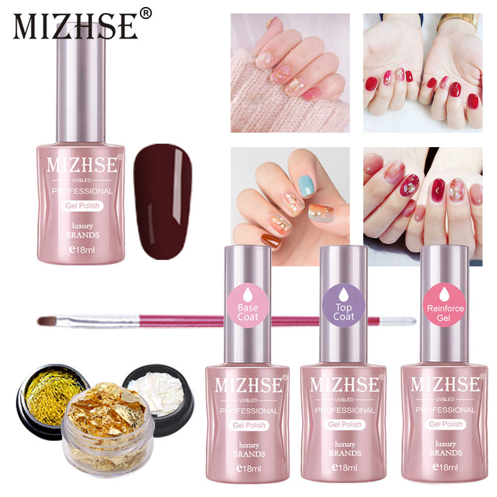 Mizhse Gel Nail Polish Set Hybrid Manicure Gellak Esmalte Permanente 18ml Uv Led Primer Top Coat Poly Gel Varnish Polishes Aliexpress