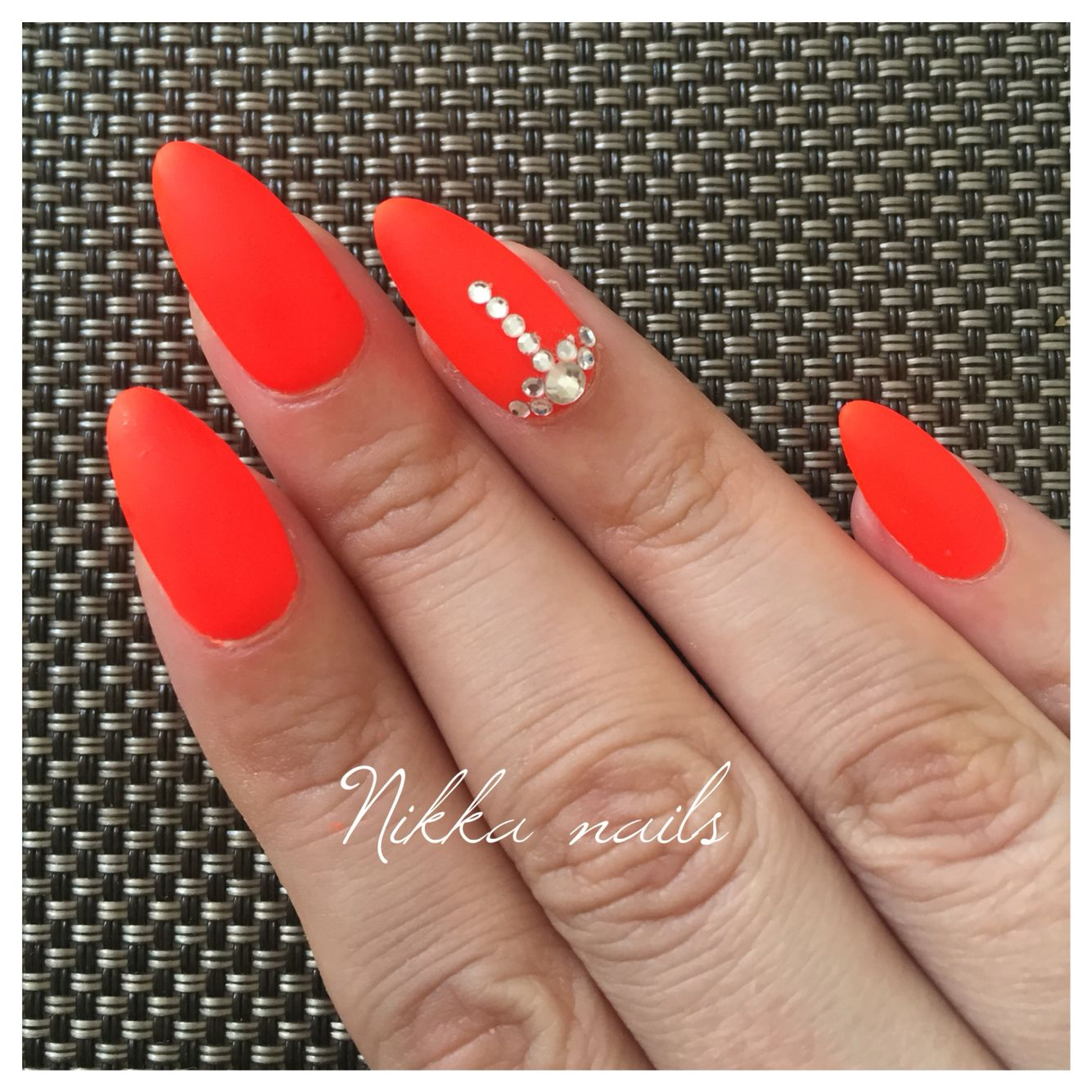 Nails Orange Nails Neon Nails Crystals On Nails Nagels