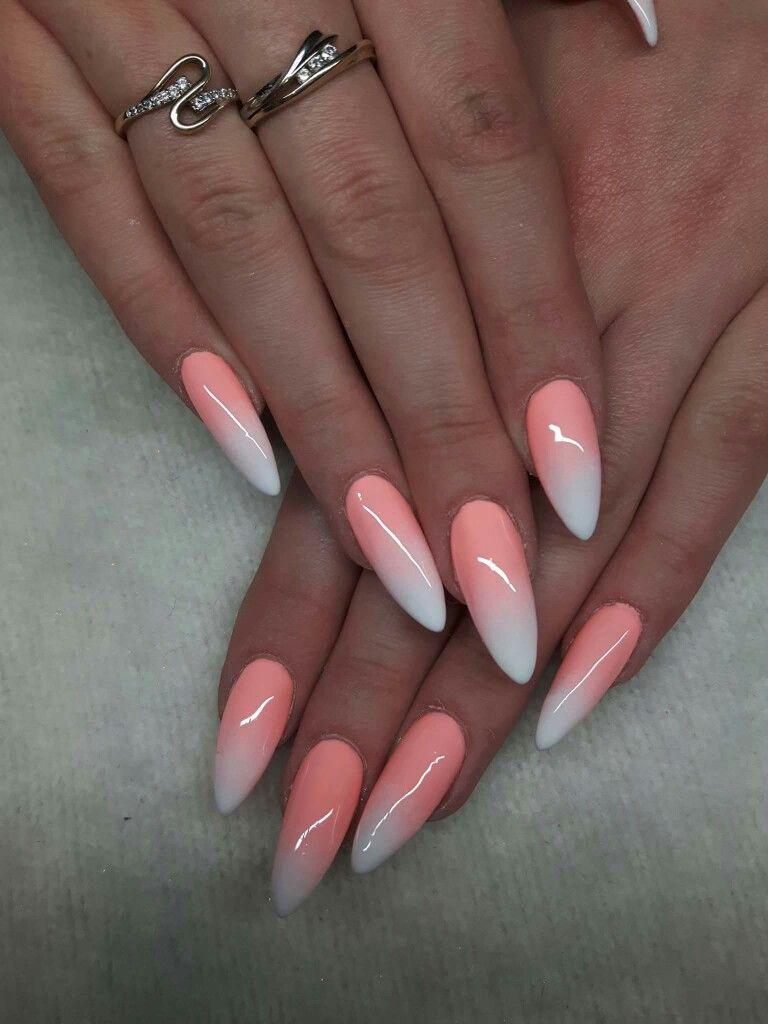 Cute Peach White Acrylic Nails Oranzove Nehty Gelove Nehty Design Nehtu