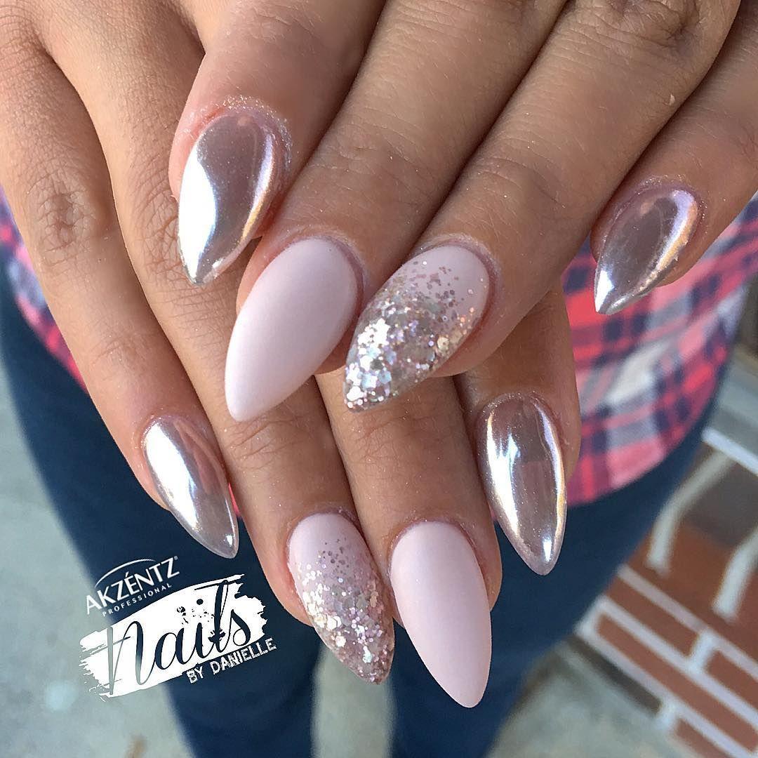 Nailsbydanielle Akzentz Conceal And Akzentz Matte On Top Coat Pink Gold Chrome Powder Con Imagenes Manicura De Unas Unas De Gel Unas Cortas