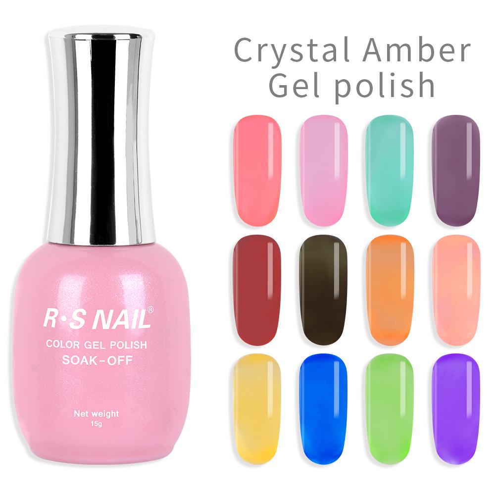 Rs Nail Gel Polish Crystal Amber Uv Gel Nail Varnish Jelly Gellak Esmaltes Permanentes Professional Nail Art 15ml Nail Gel Aliexpress