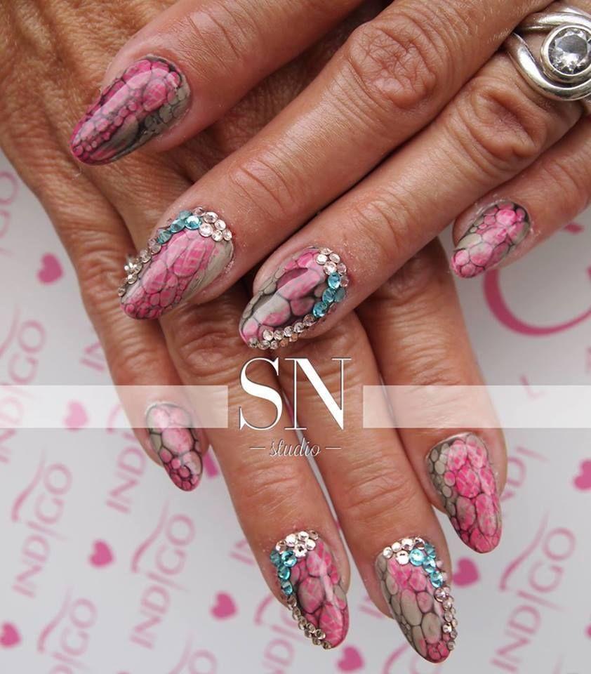 By Sn Studio Find More Inspiration At Www Indigo Nails Com Nailart Nails Indigo Pink Blue Swarovski