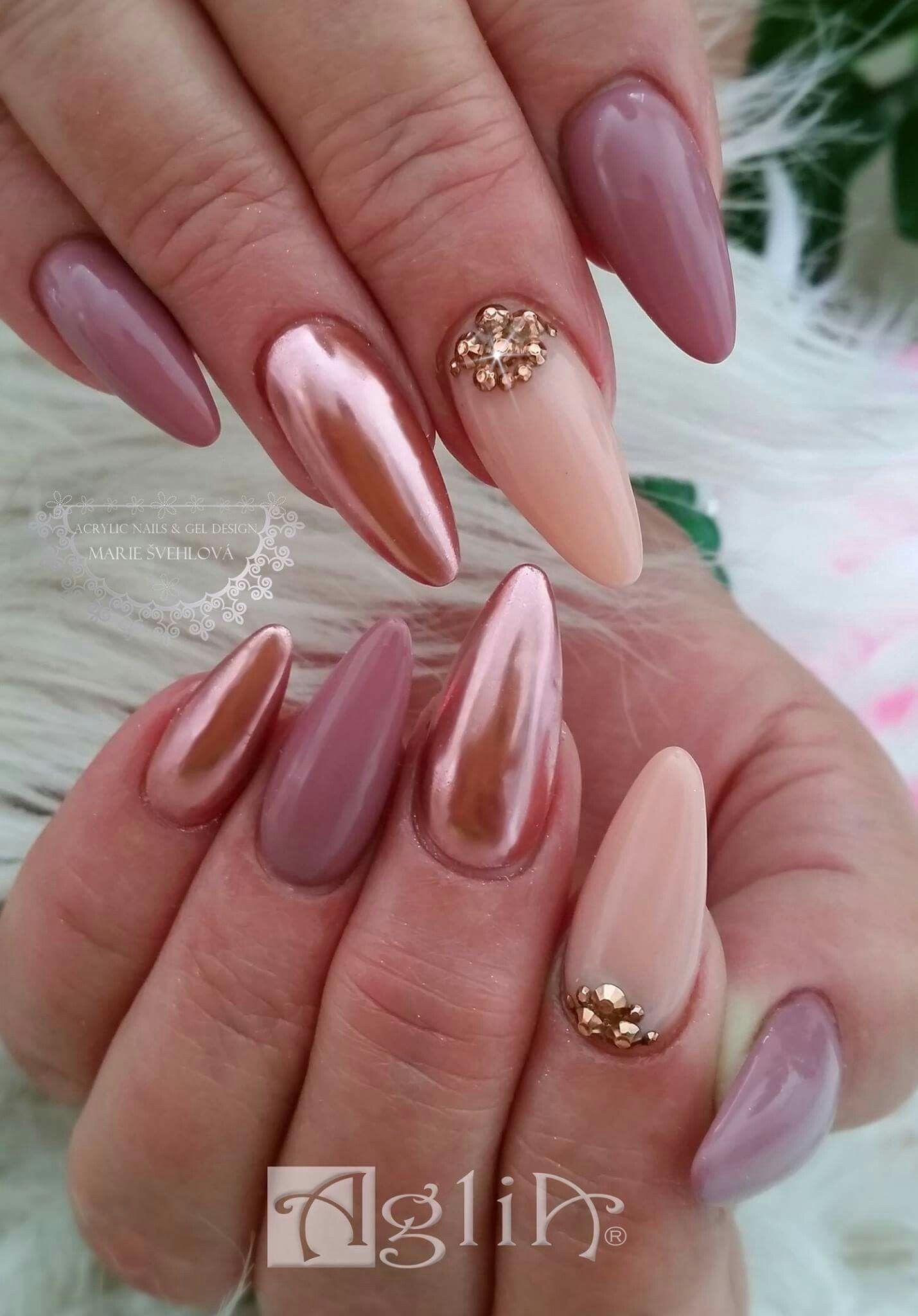 Acrylic Nails Gel Design Rose Gold Pigment