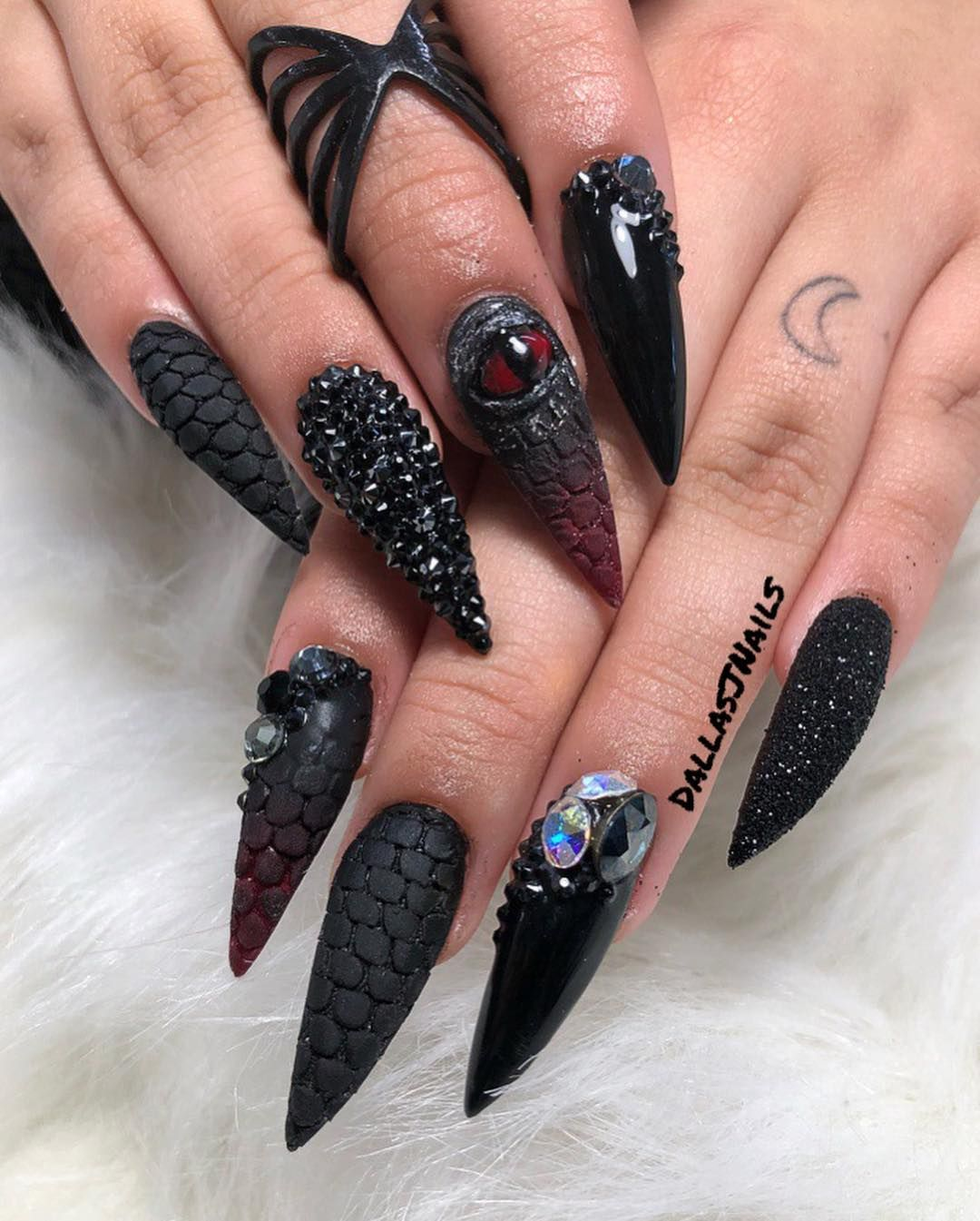 Dallasjnails On Instagram See No Evil Clients Request Dungeon Dragon Inspired Dallasjnails Nailart Sout Dragon Nails Goth Nails Gothic Nails