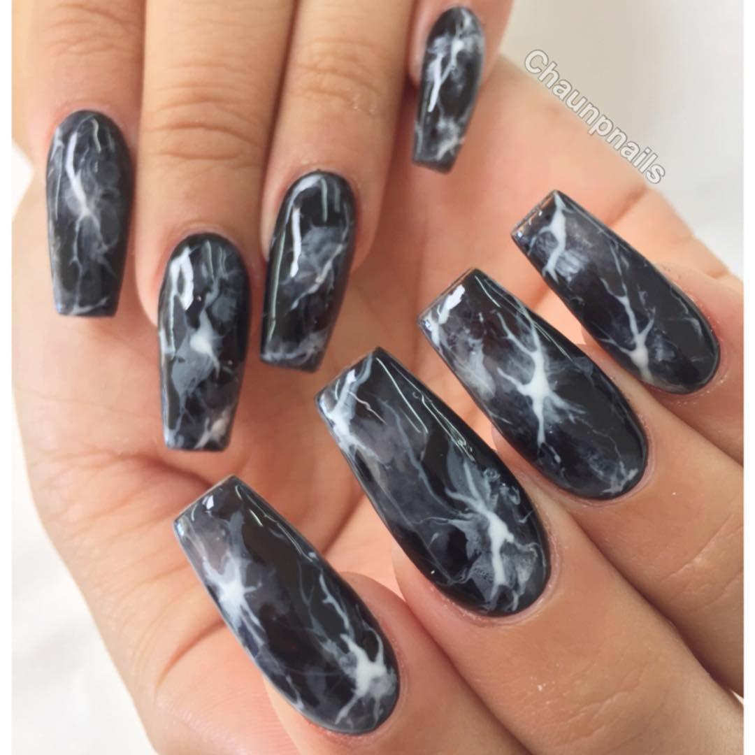 Chaun P On Instagram A Closer Black Smoke Marble Nails Nail Designs Trendy Nails