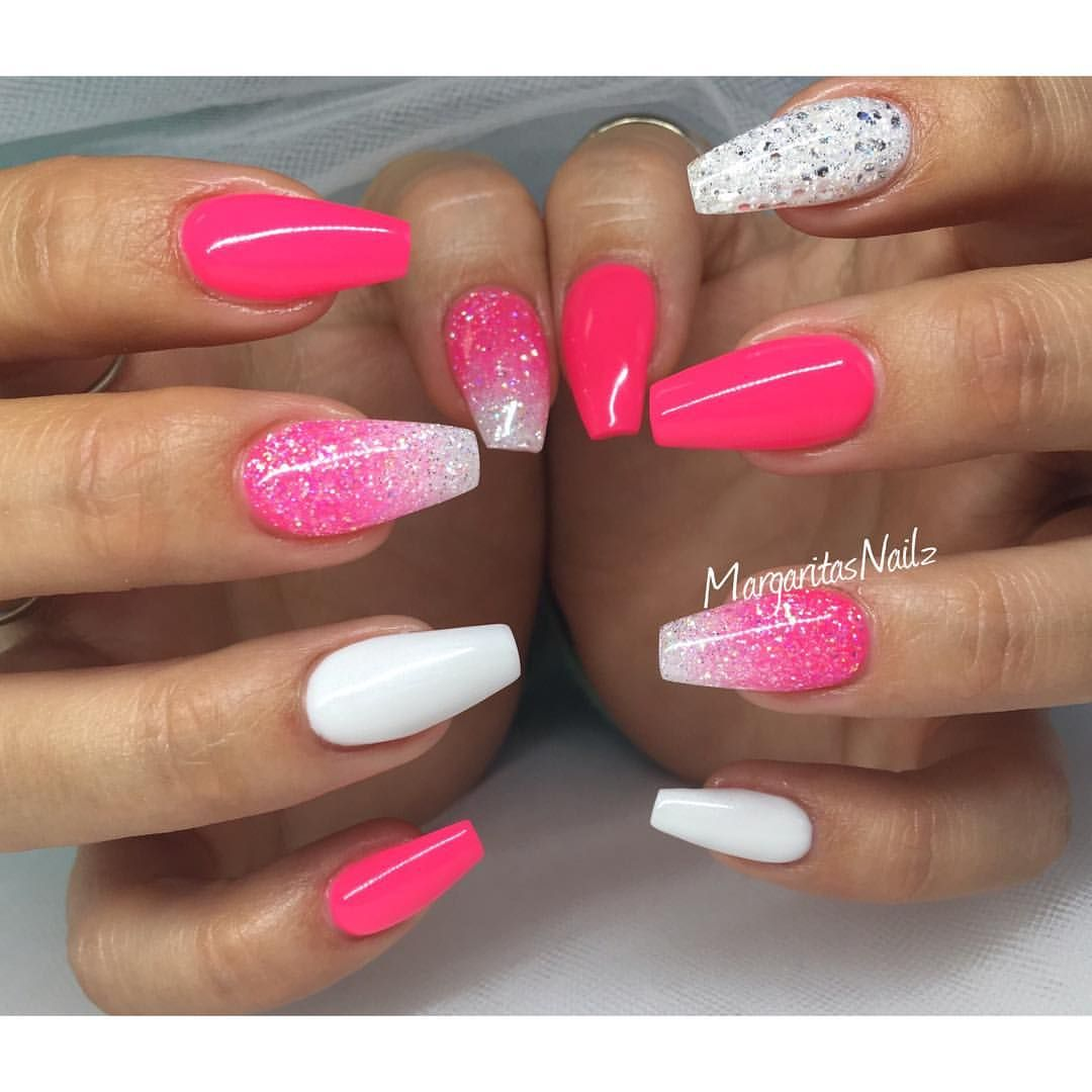 Neon Pink And White Coffin Nails Glitter Ombre Spring Summer 2016 Nail Art With Images Gelove Nechty Nechtovy Dizajn Nechty
