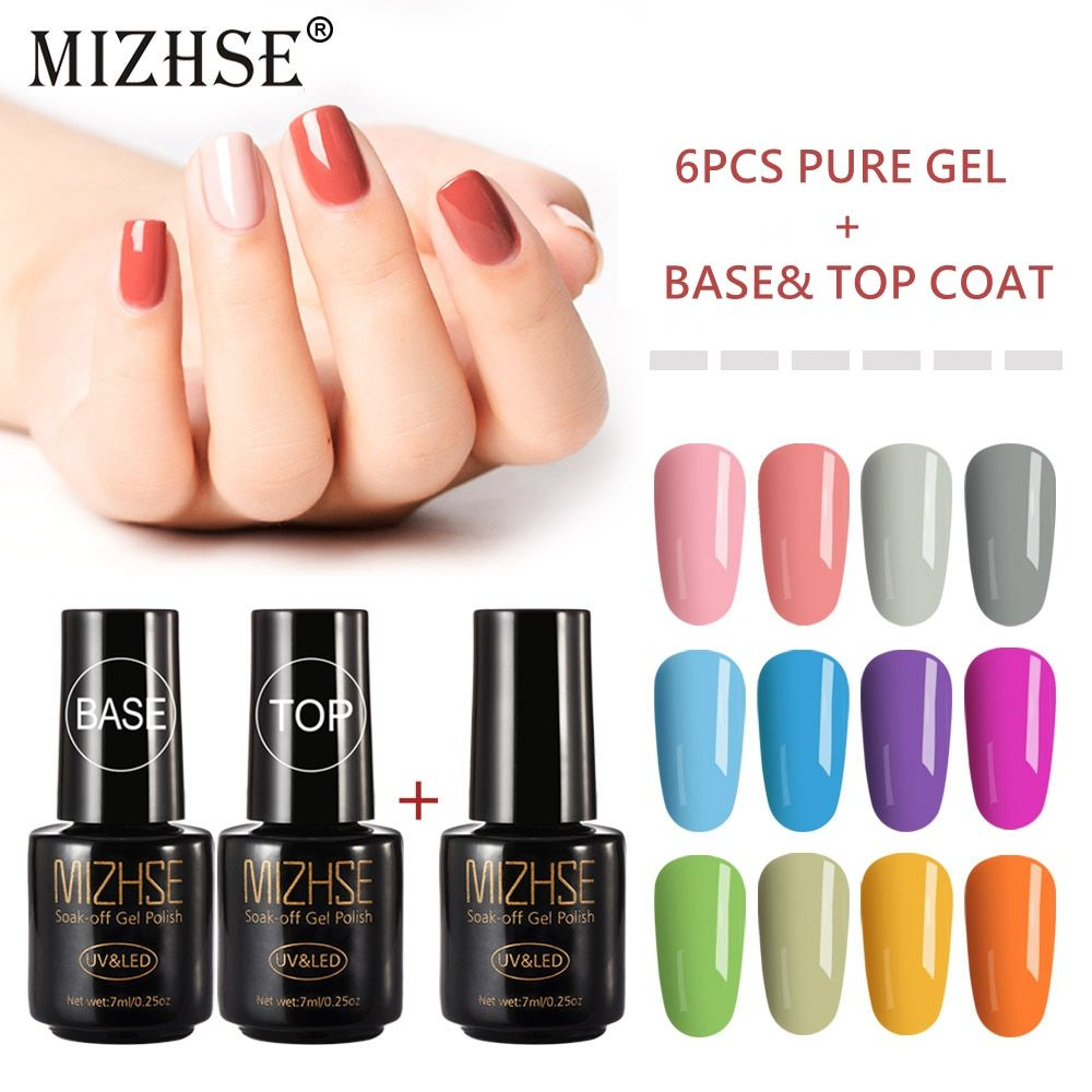 Mizhse Uv Gel Polish 7ml Semi Permanent Uv Led Soak Off Gel Lacquer For Manicure Hybrid Nail Polish Set Gel Lak Top P Gel Lacquer Soak Off Gel Nail Polish Sets
