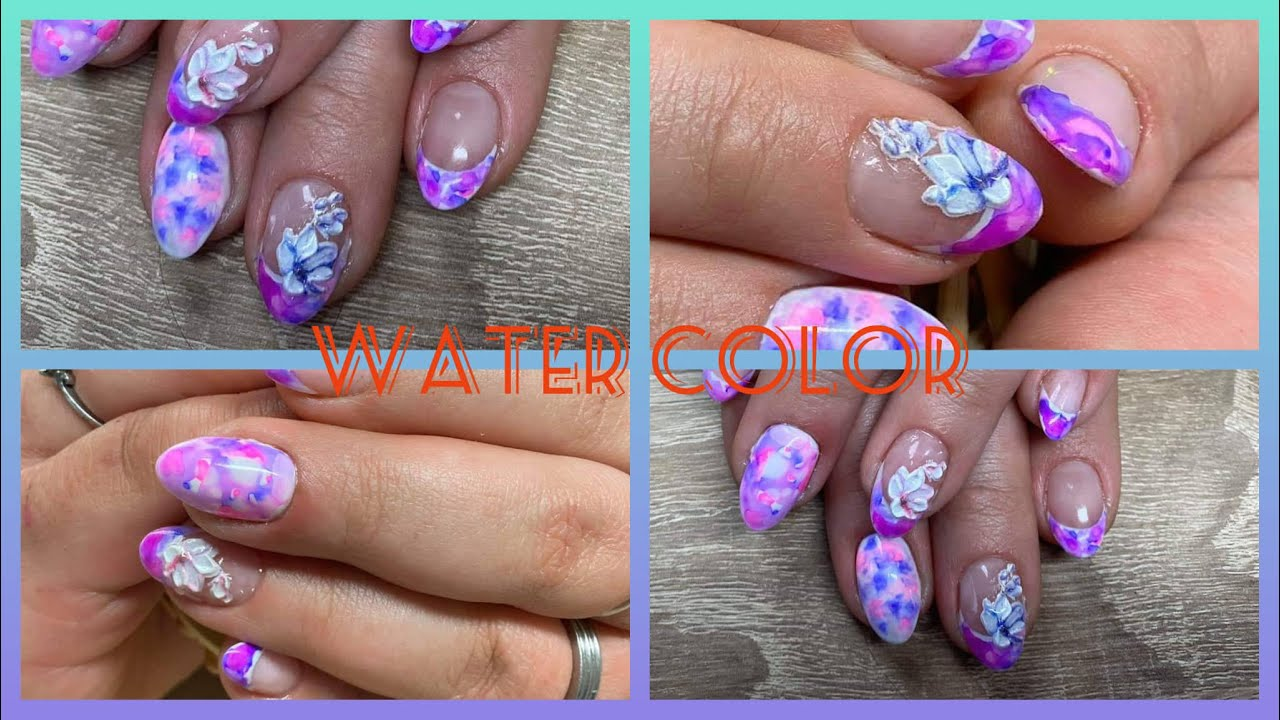 Akrylove Nehty S Efektem Water Color Inkoustove Barvy Youtube