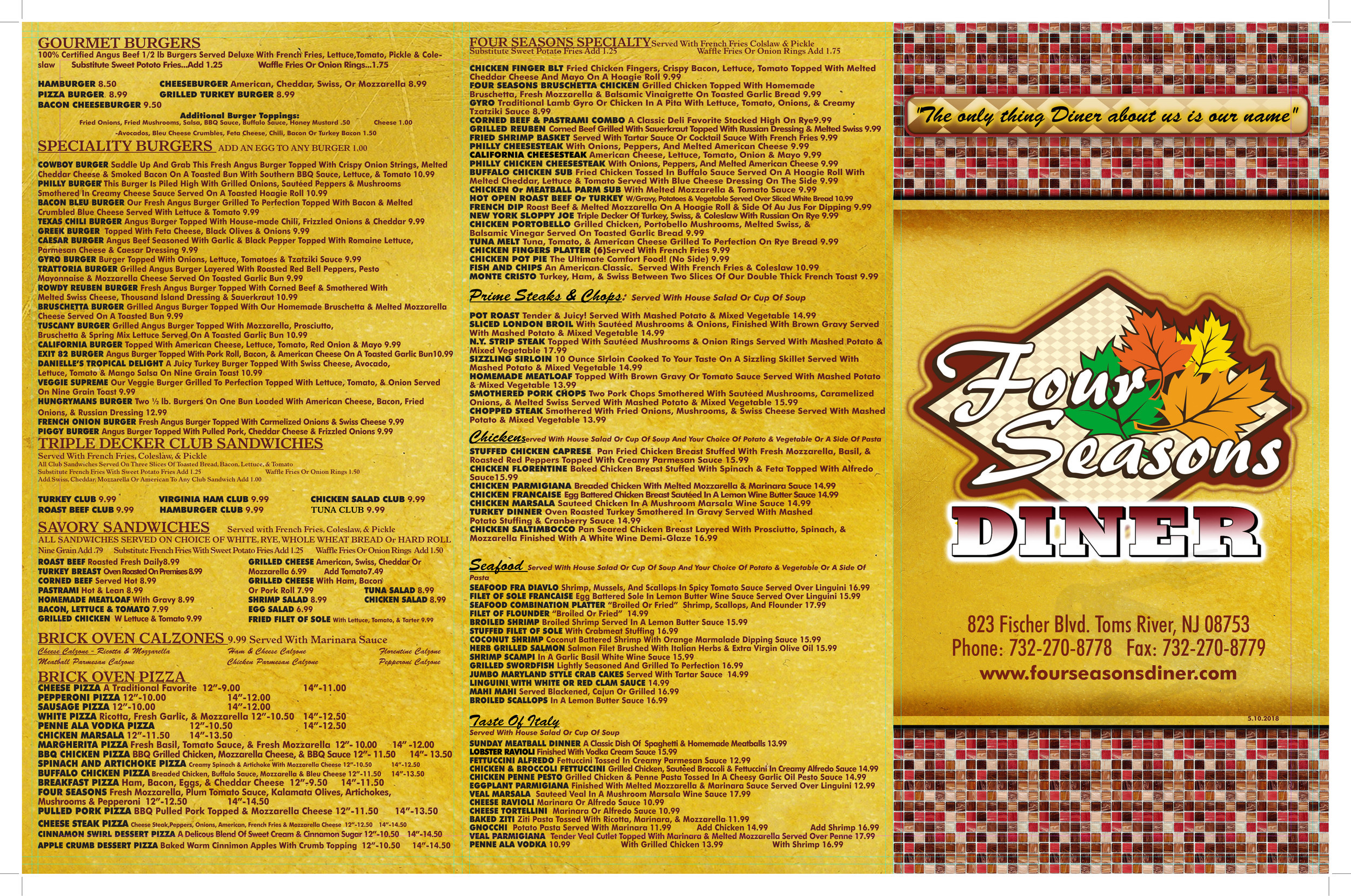 Four Seasons Diner Menu In Toms River New Jersey Usa