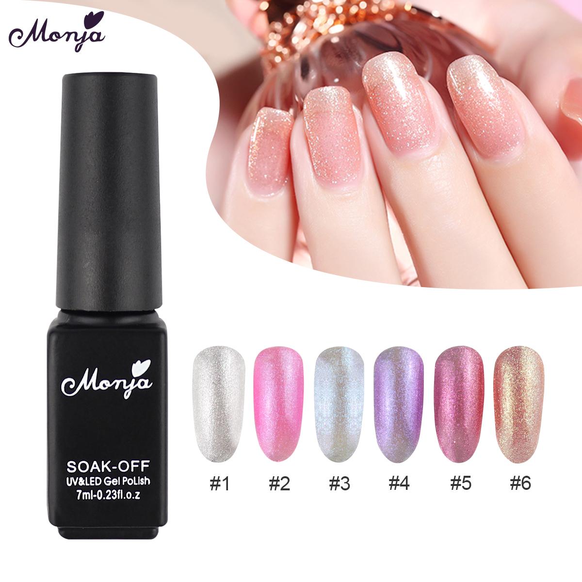 Monja 7ml Nail Semi Permanent Long Lasting Shimmer Neon Polish Uv Gel Varnish Lacquer Vernis Manicure Tools 6 Colors Nail Gel Aliexpress