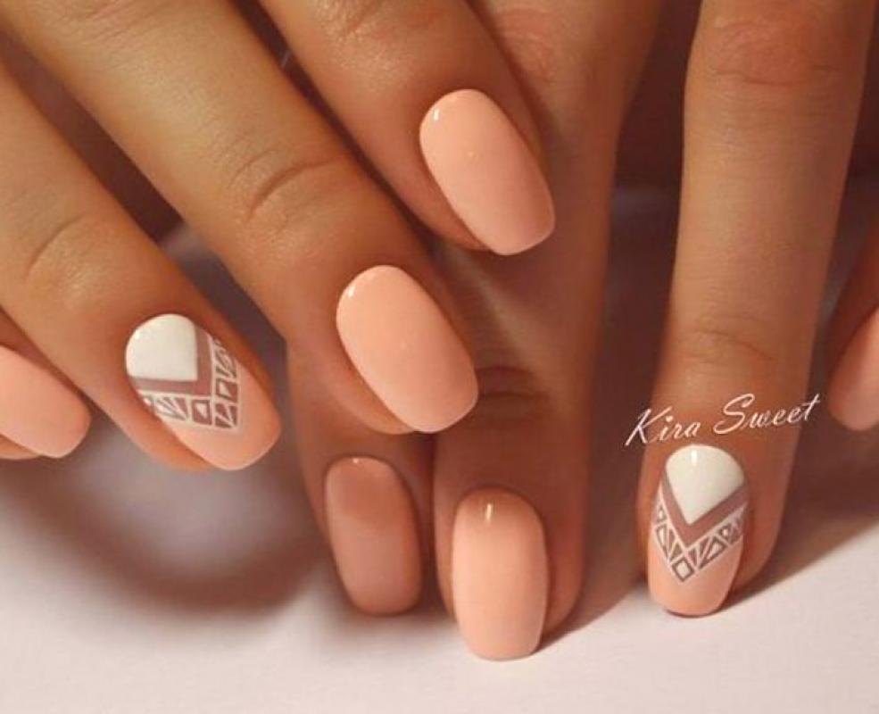 Peach Manikura Novy Design Foto Gel Polsky