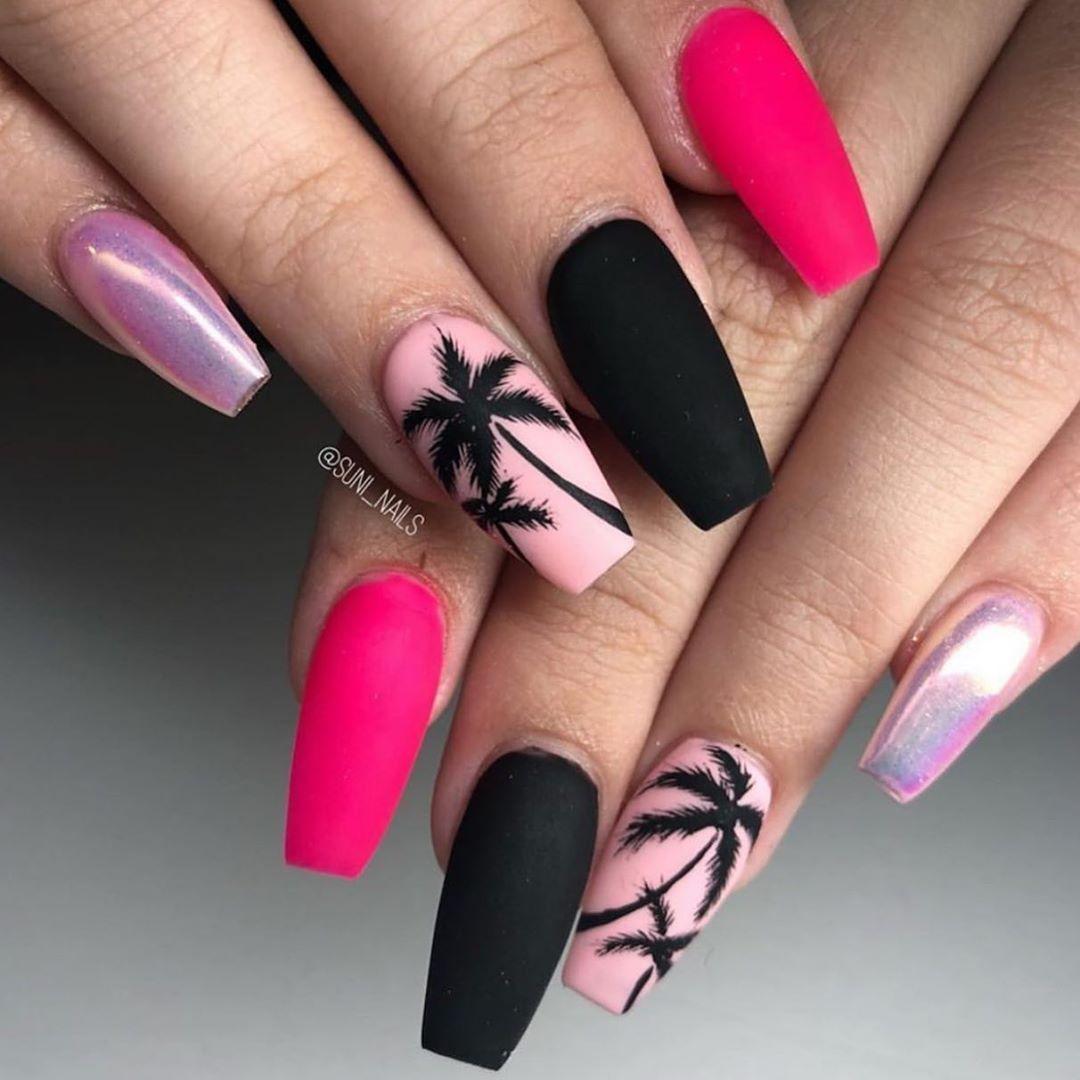 59 Amazing Palm Tree Nail Designs For Summer Design Nehtu Gelove Nehty Pastelove Nehty