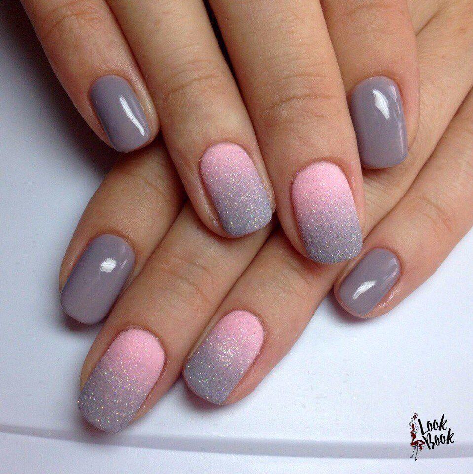 Grey Pink Ombre Fialove Nehty Gelove Nehty A Design Nehtu