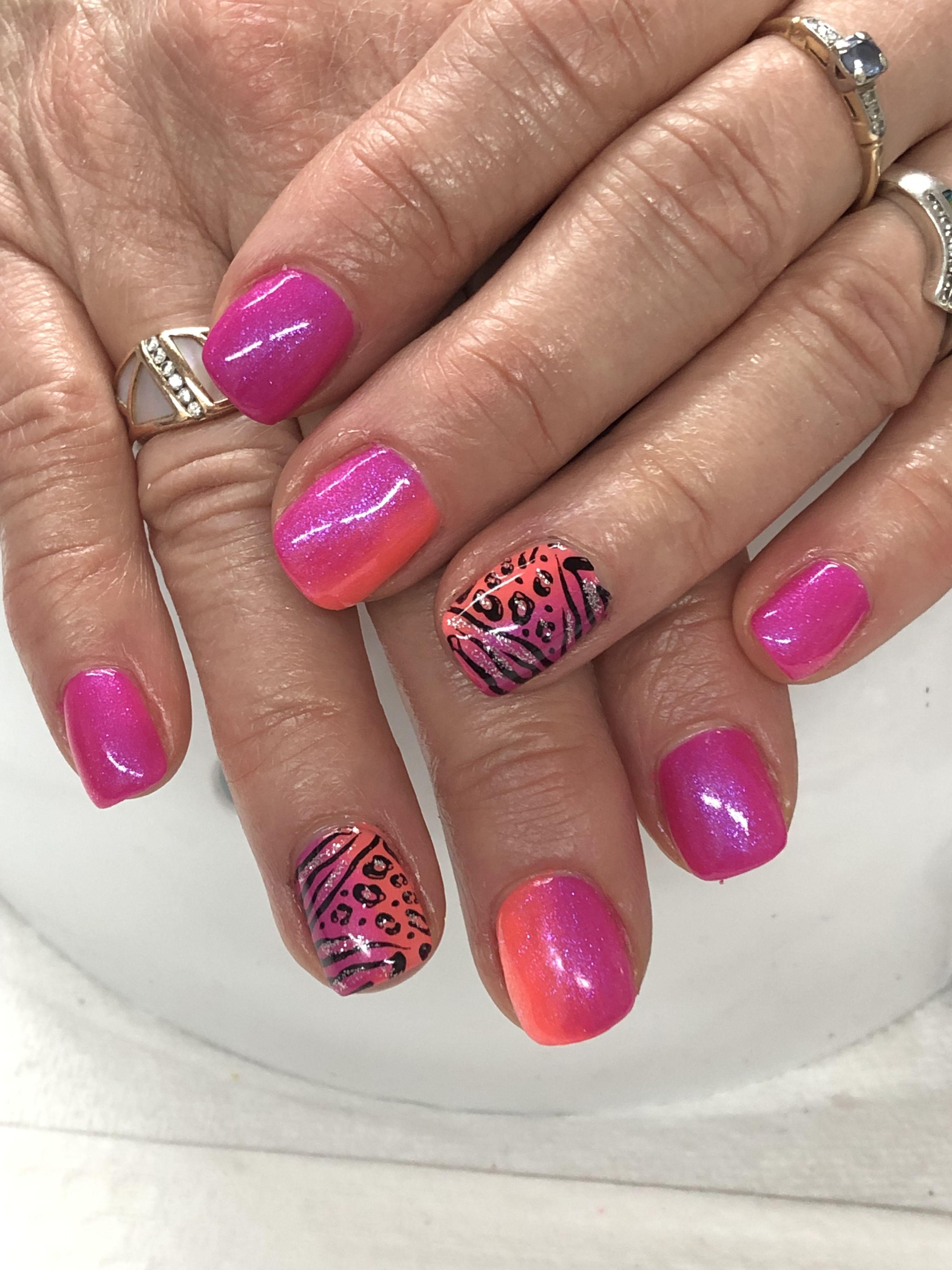 Animal Print African Summer Hot Pink Orange Ombre Gel Nails Ombre Gel Nails Animal Print Nails Gel Nails