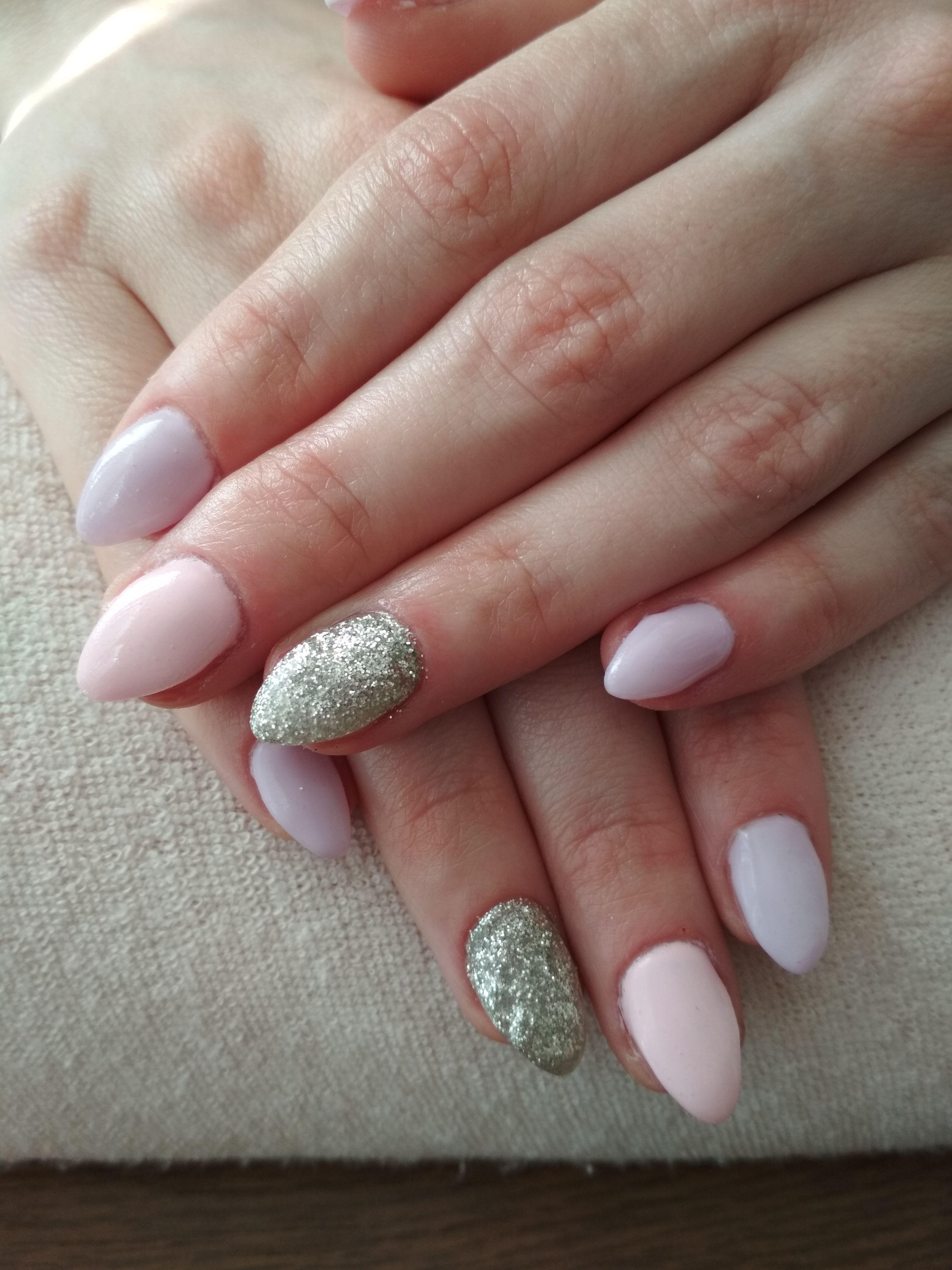 Purple And Pink Gel Silver Glitter Nehty Gelove Nehty