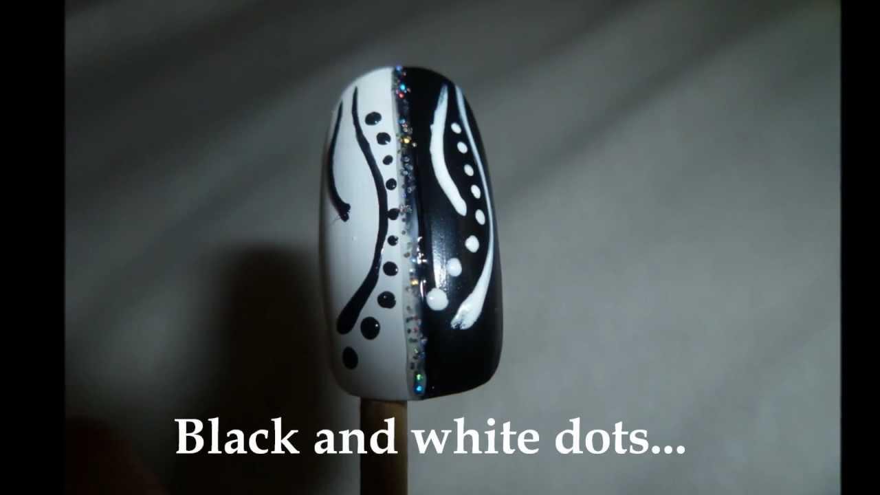 Black And White Nail Design Cernobile Nehty Youtube