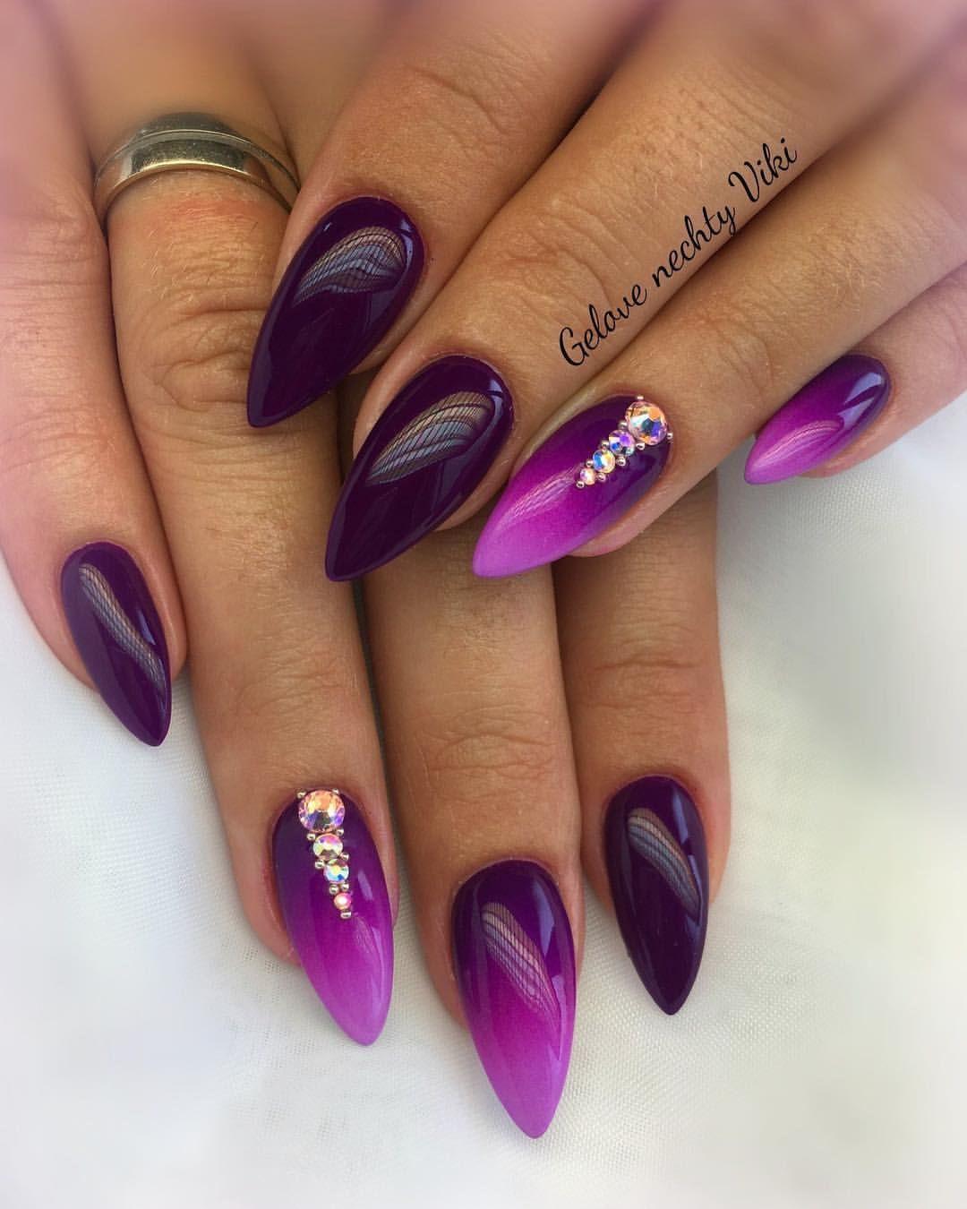 Nailartoohlala Nailsart Ombrenail Nails Almondnails Ombre Nails Long Acrylic Nails Purple Nails