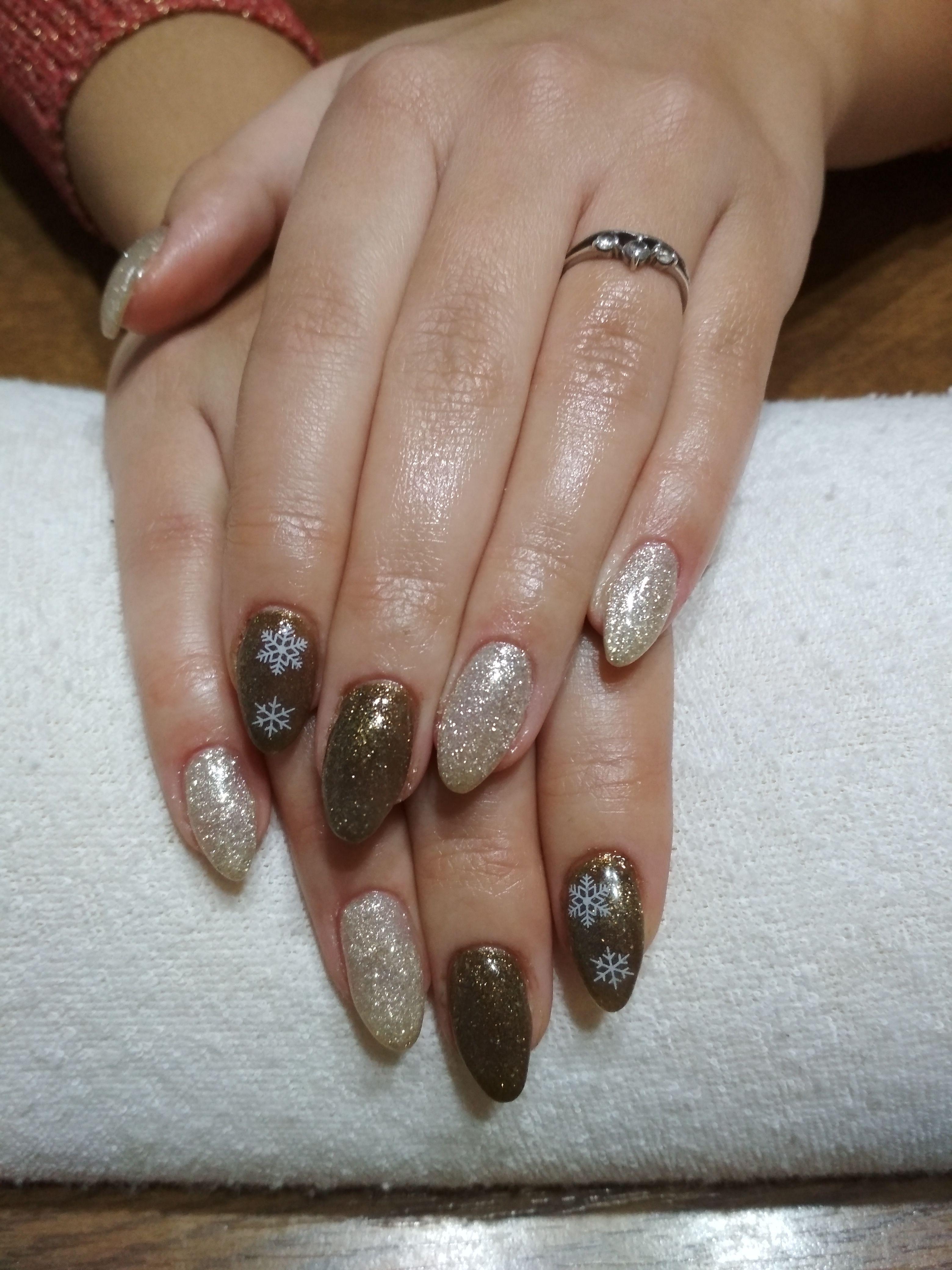 Gold Brown Gel White Flakes Glitter Gel Gelove Nehty Nehty