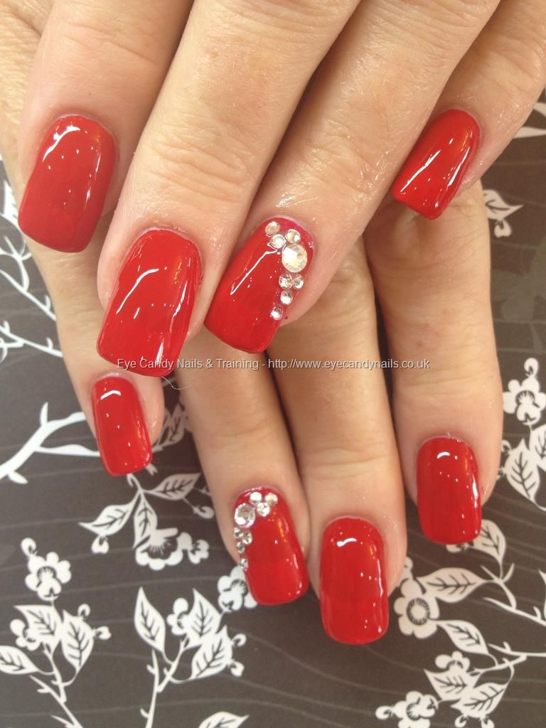 Red Polish With Swarovski Crystal Ring Finger Over Acrylic Nails Red Nails Swarovski Nails Trendy Nails