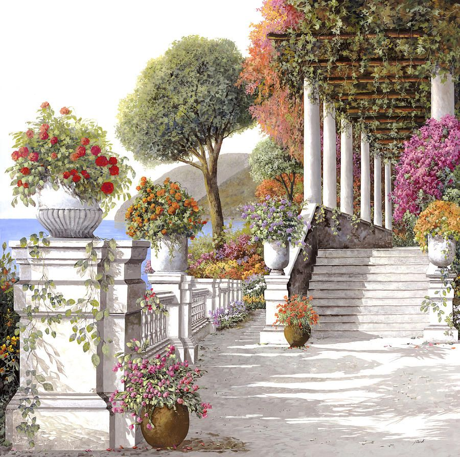 Four Seasons Summer On Lake Como Beautiful Italian Painters Landscape Paintings Painting