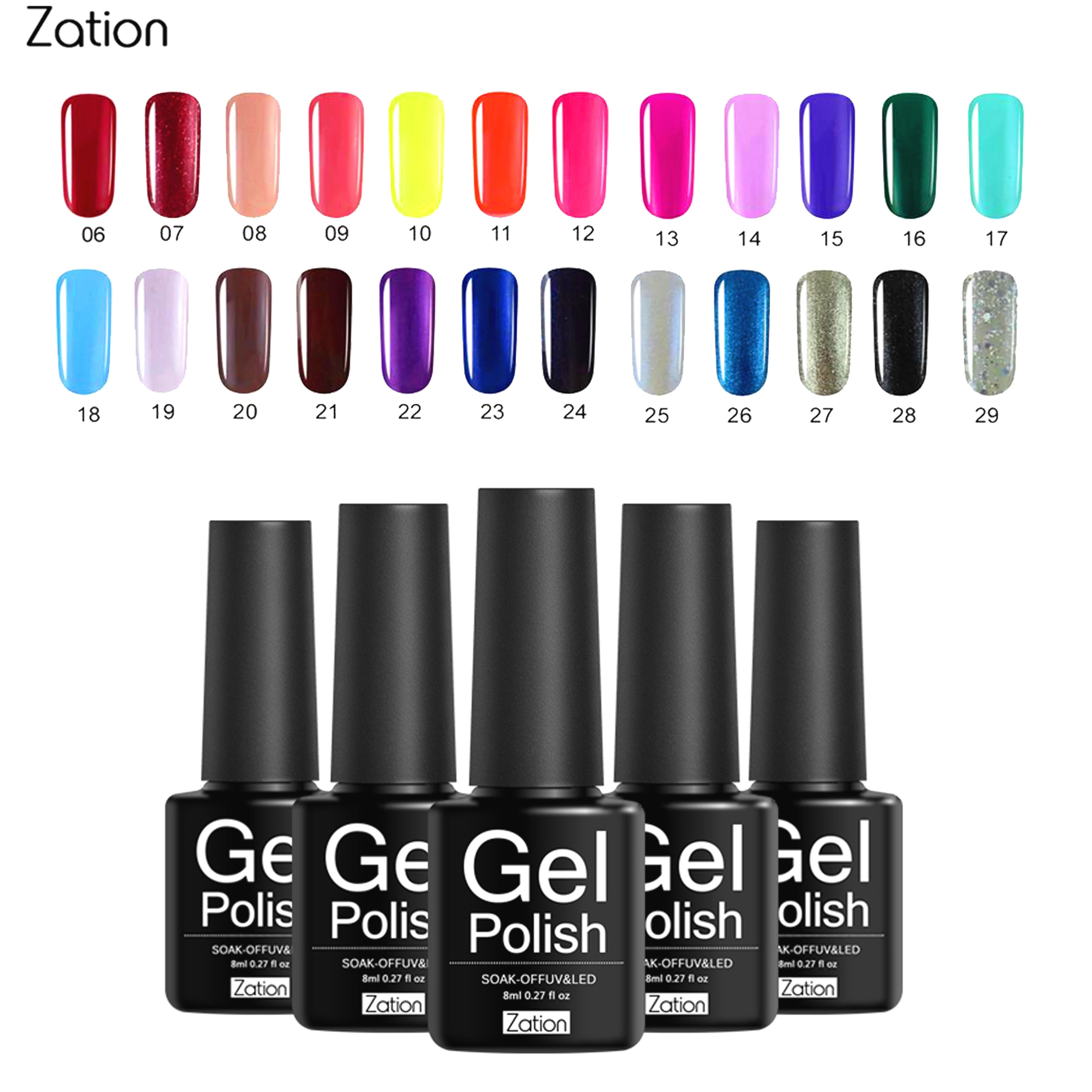 Zation Pure Colors Uv Nail Gel Semi Permanent 8ml Uv Gel Nail Polish Hybrid Primer Lak Soak Off Gel Varnish Nail Art Design Nail Gel Aliexpress