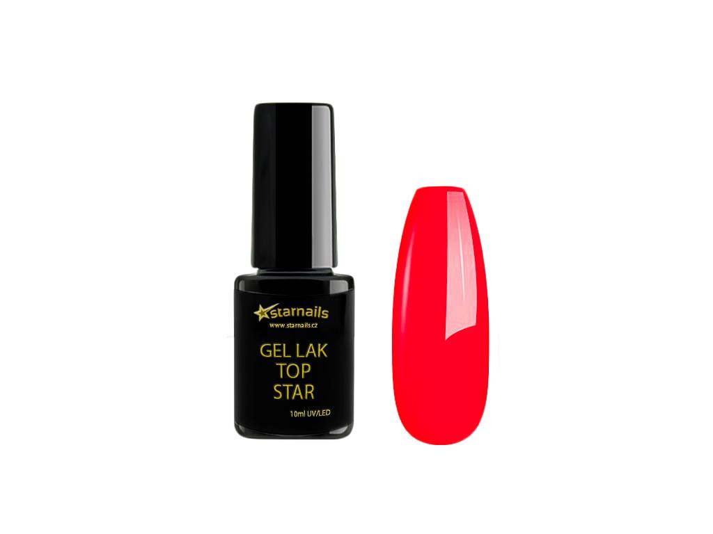 Gel Lak Top Star Neon Red Pink Neonovy Cerveny Gel Lak