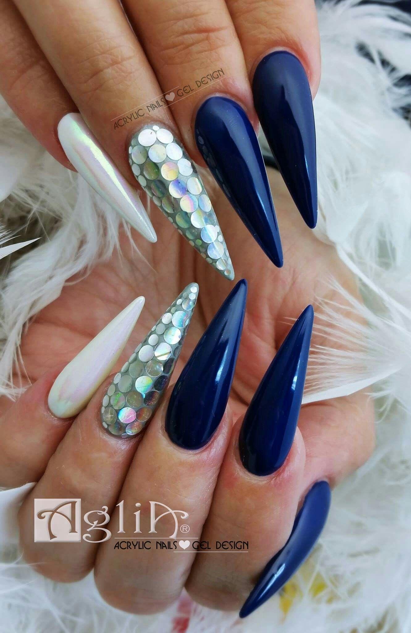 Acrylic Nails Gel Design Long Blue Nails Nehty