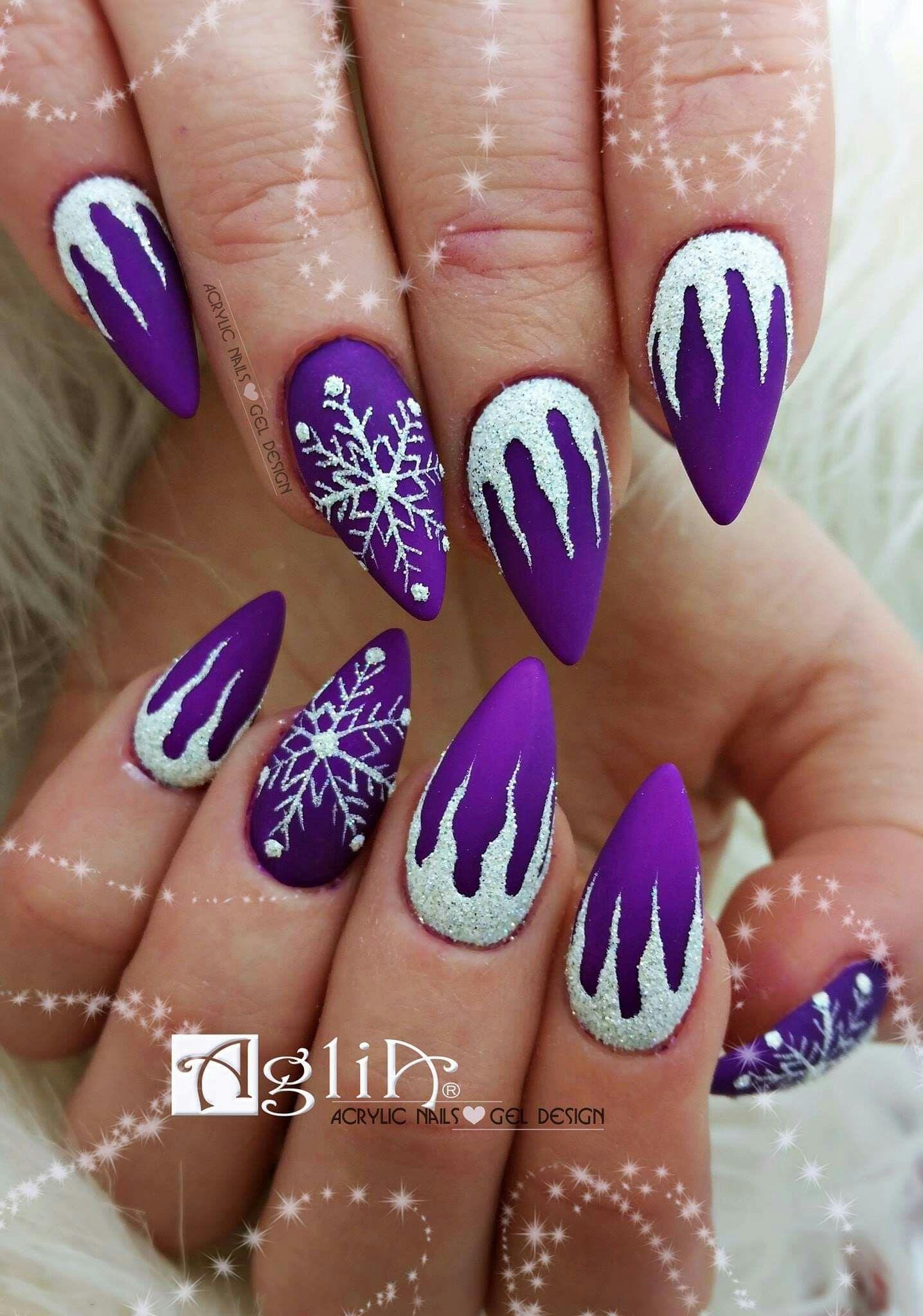 Acrylic Nails Gel Design Winter Nails Purple Matte Neon Nails