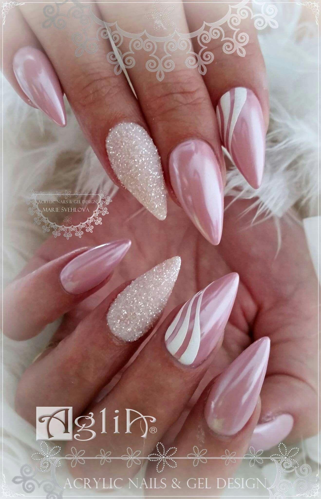 Acrylic Mail S Gel Design Chrome White Nails Ruzove Nechty Ombre Nechty Nechtovy Dizajn