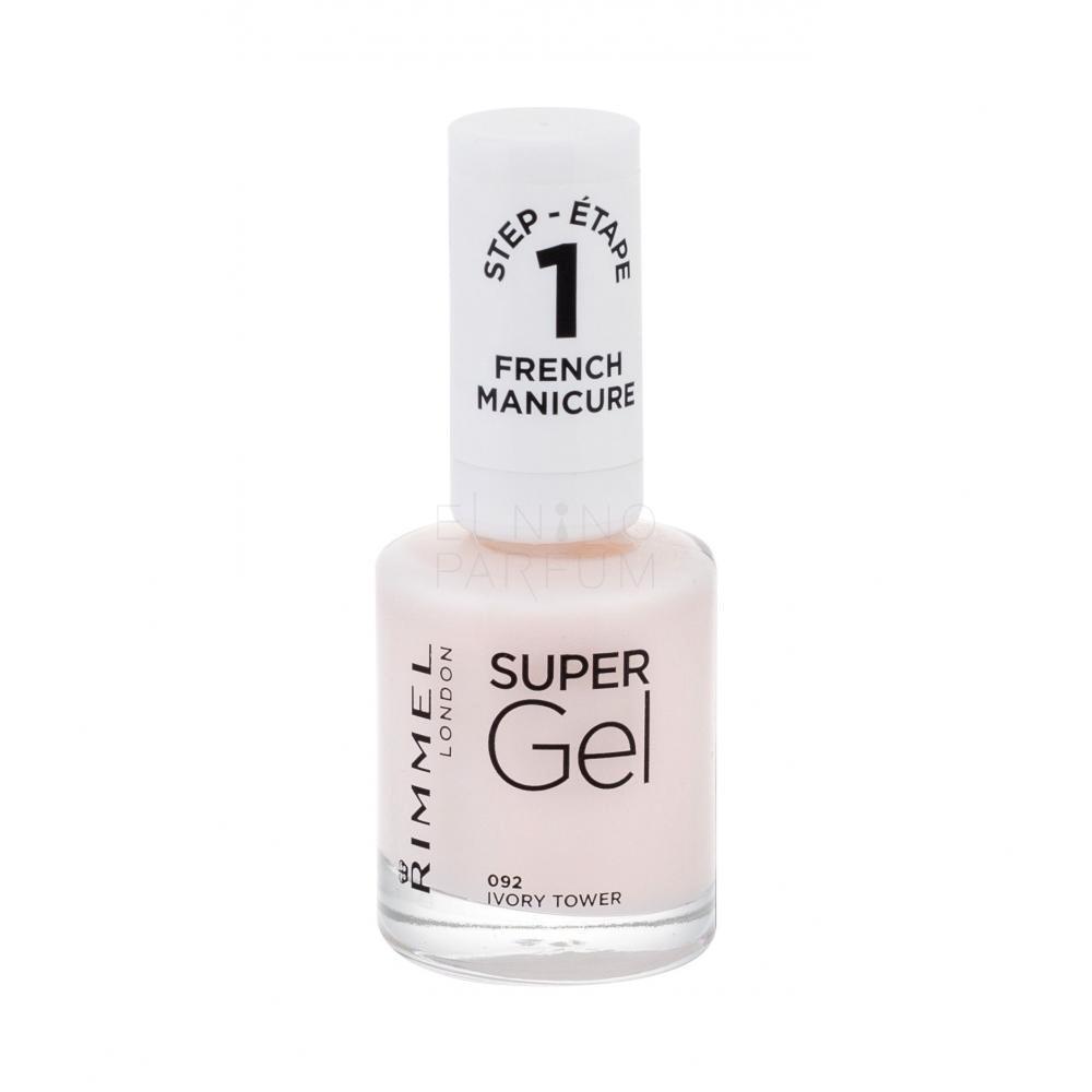 Rimmel London Super Gel French Manicure Step1 Lakier Do Paznokci Dla Kobiet 12 Ml Odcien 092 Ivory Tower Elnino Parfum
