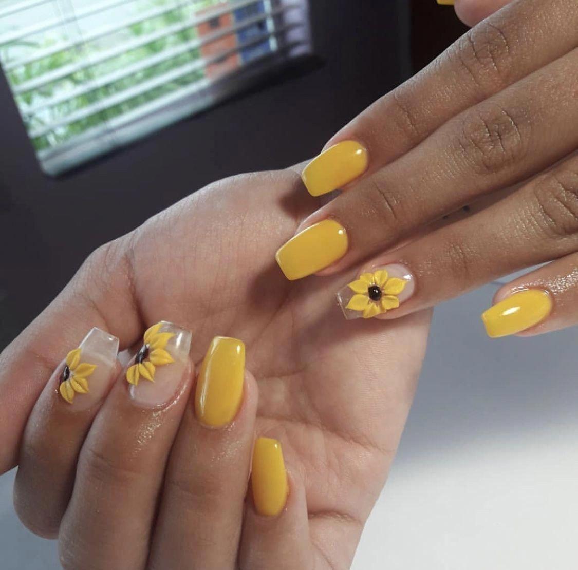 Nailart Yellow Acrylics Sunflower Design Nails 2018 Beautifulacrylicnails Acrylicnailsalmond Nehty
