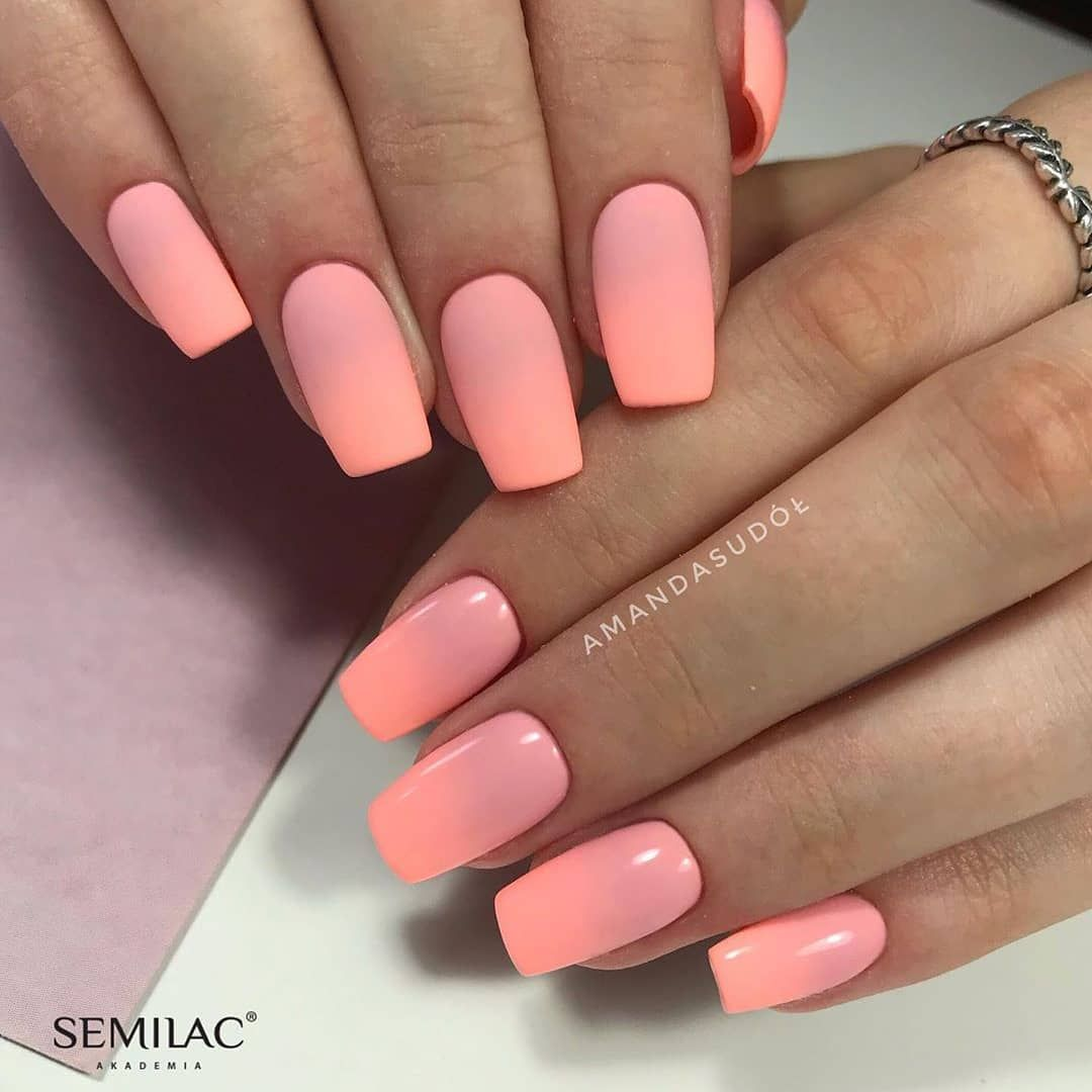 Matne Ci Leskle Co Uprednostnujete Farby 047 Pink Peach Milk 130 Sleeping Beauty Necht Ombre Nail Designs Nail Designs Summer Matte Nails Design