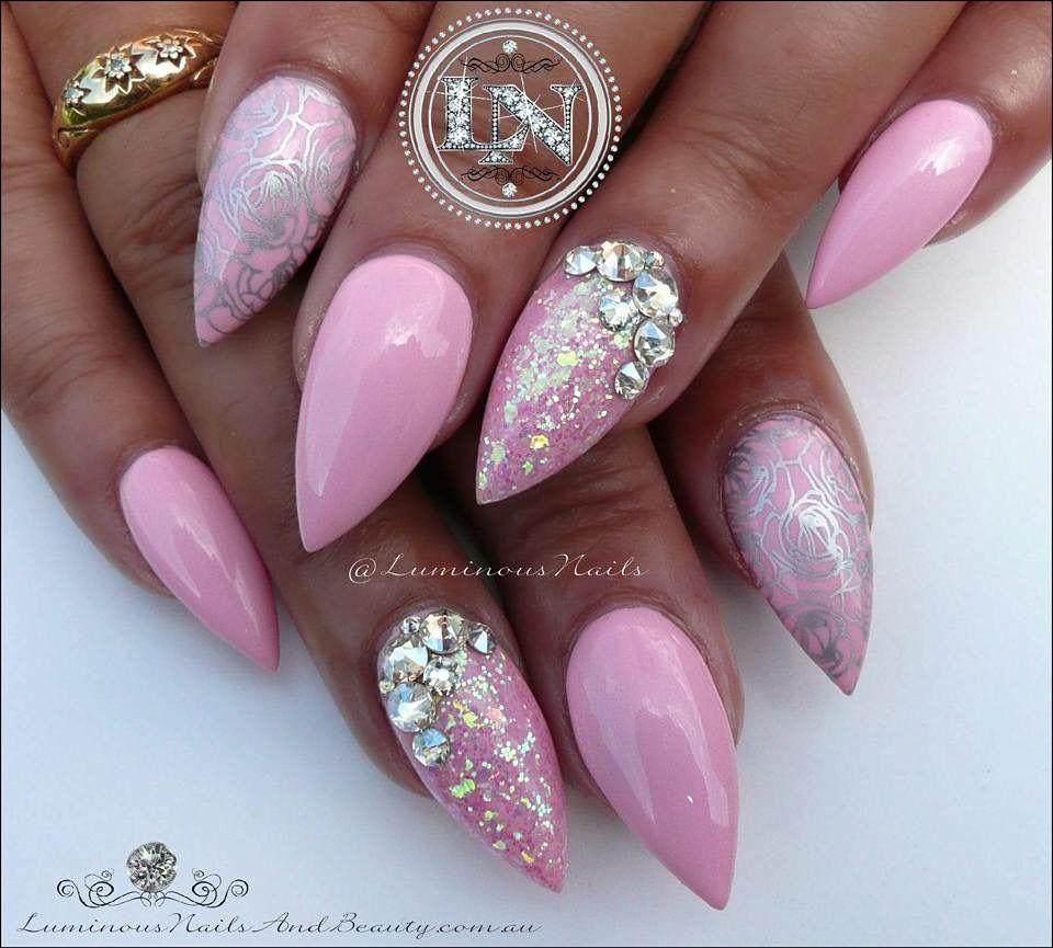 Pin By Lenous On Nails Luminous Nails Silver Nails Baby Pink Nails